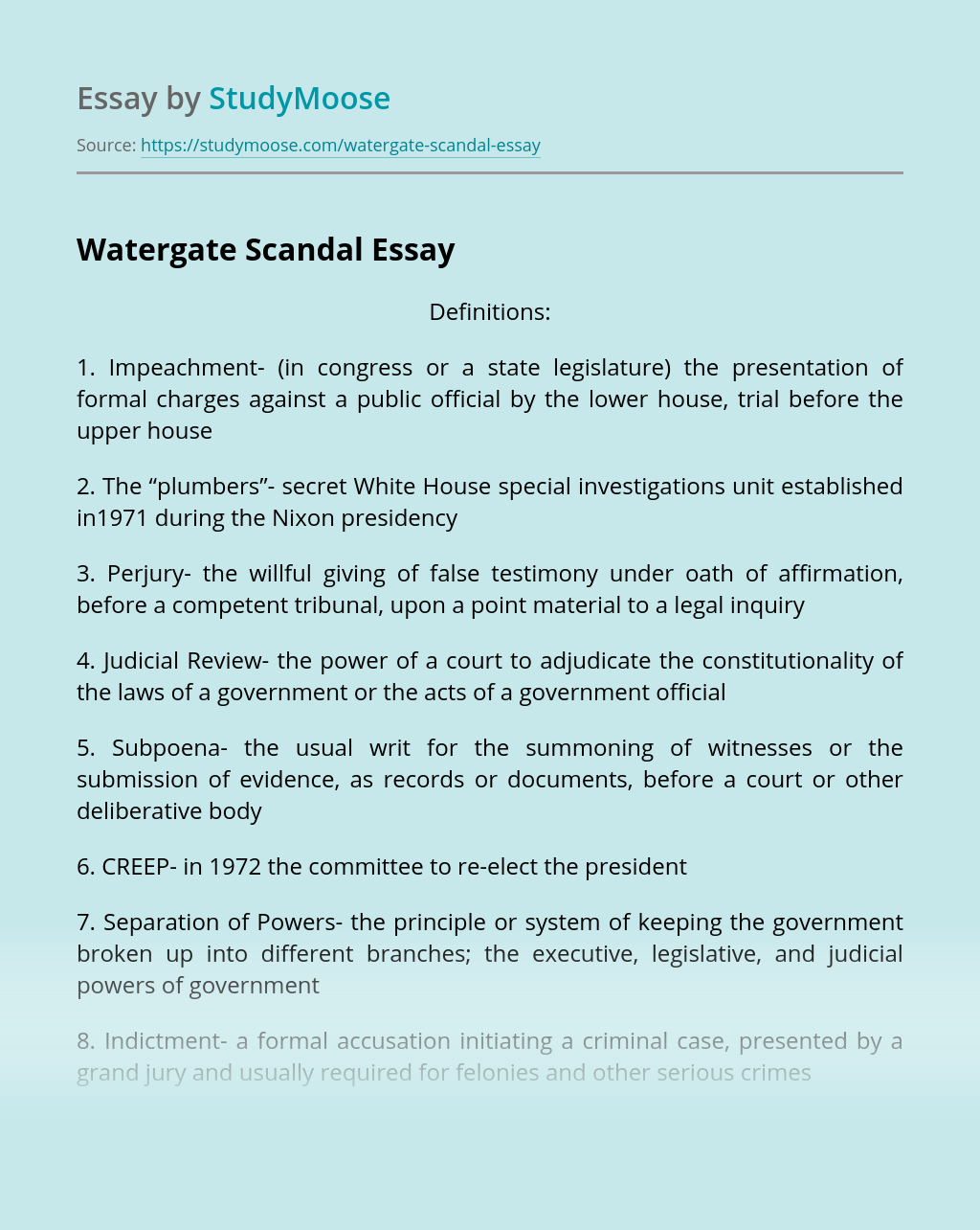 Thesis statement on the watergate scandal usda research papers