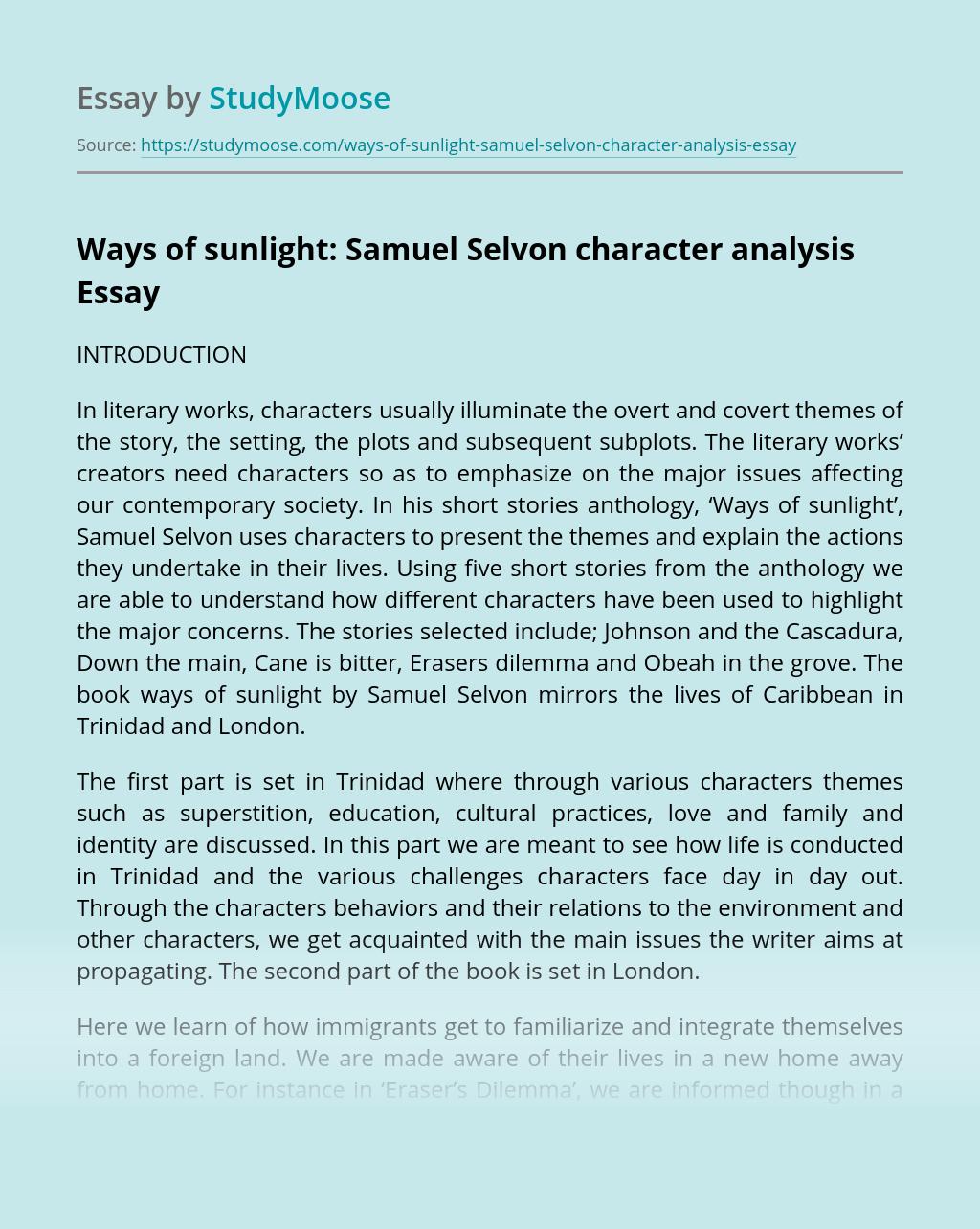 Ways of sunlight: Samuel Selvon character analysis