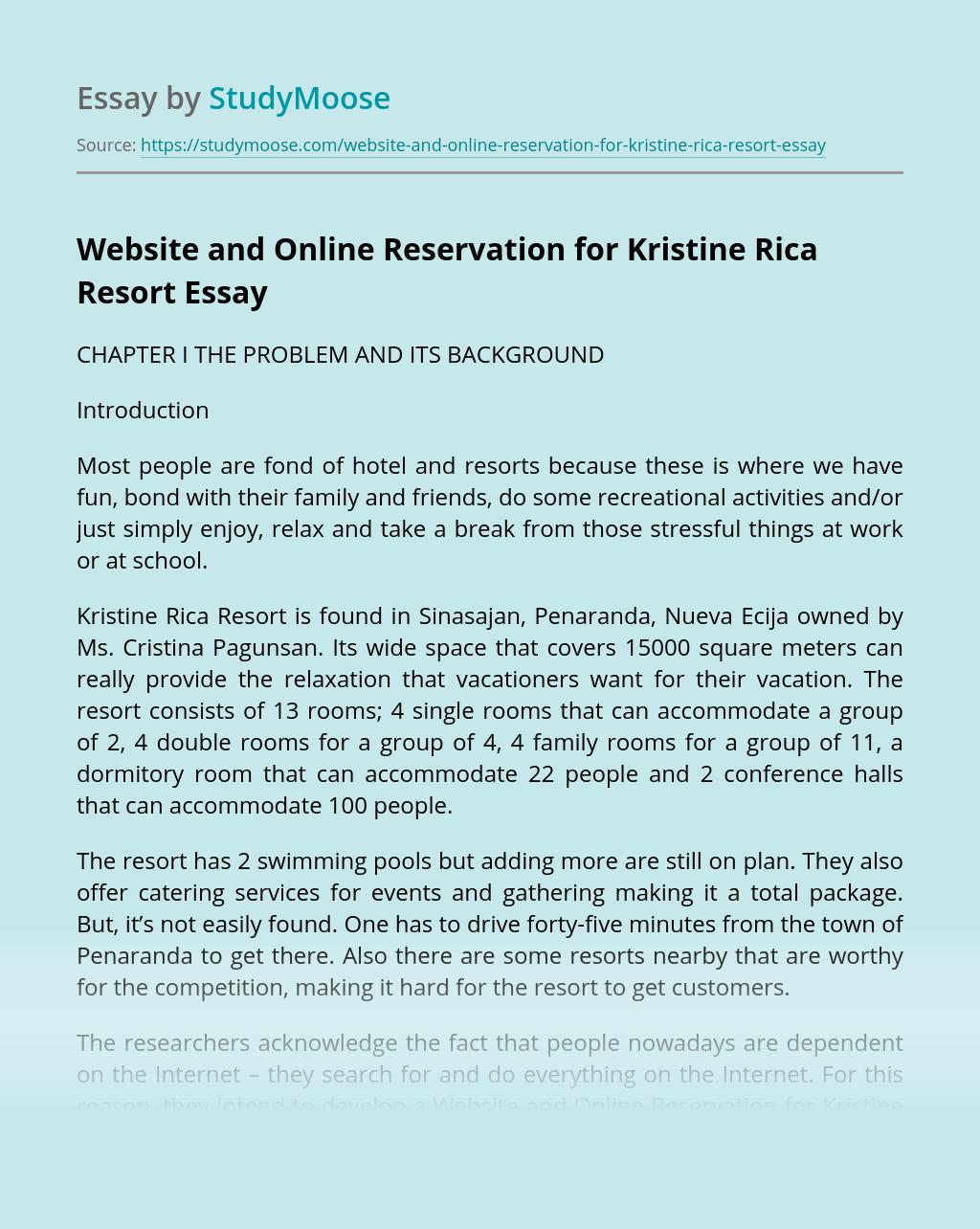 Website and Online Reservation for Kristine Rica Resort