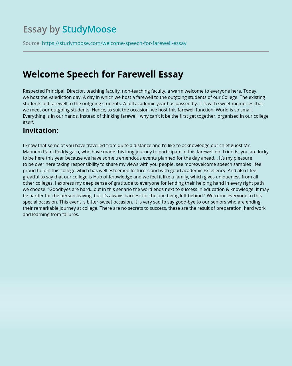Welcome Speech for Farewell