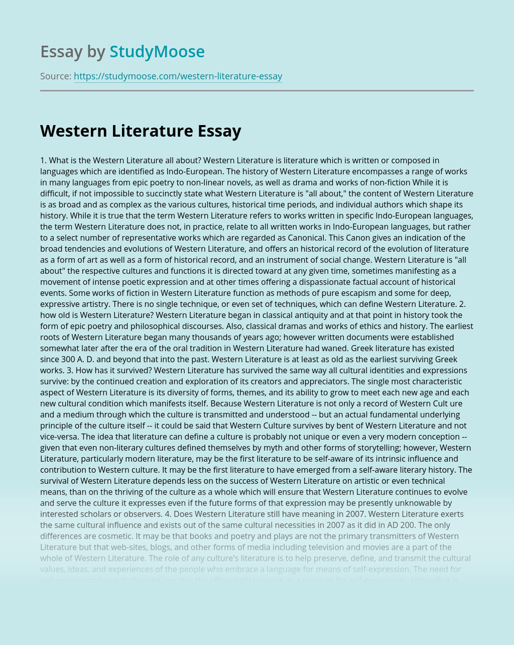 Western Literature