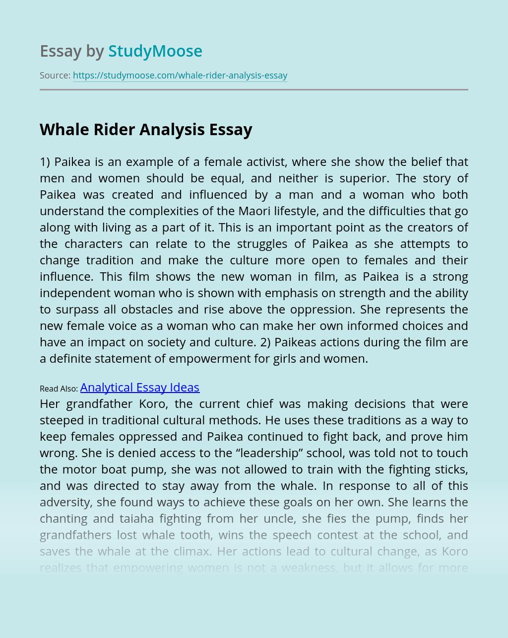Whale Rider Analysis
