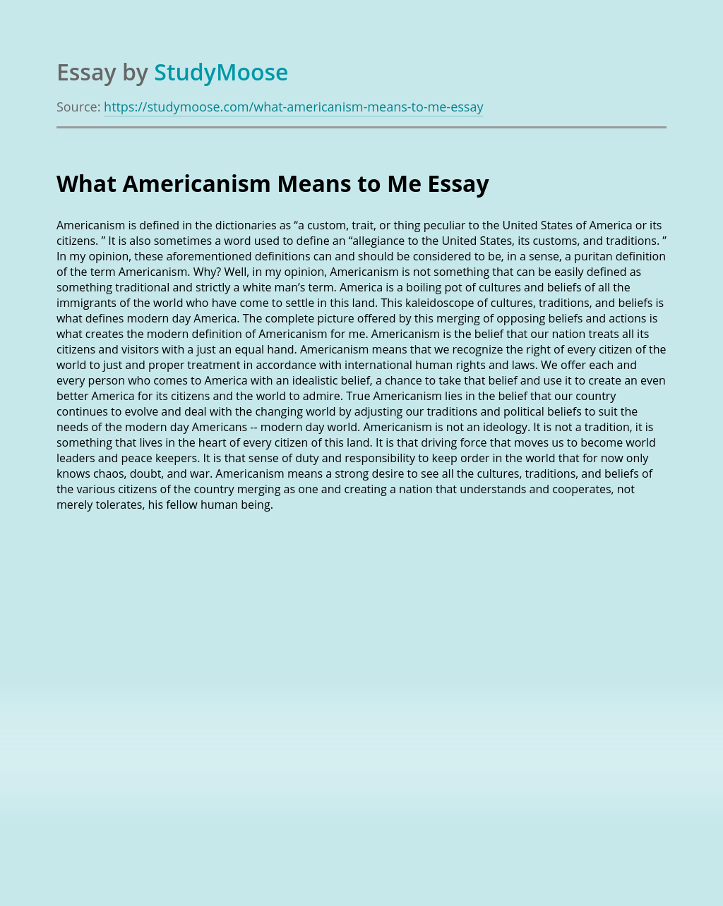 What Americanism Means to Me