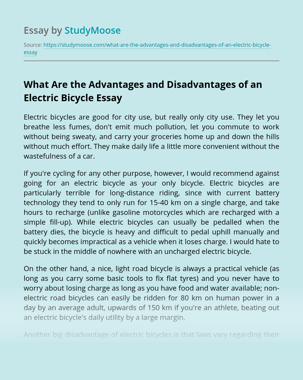 What Are the Advantages and Disadvantages of an Electric Bicycle