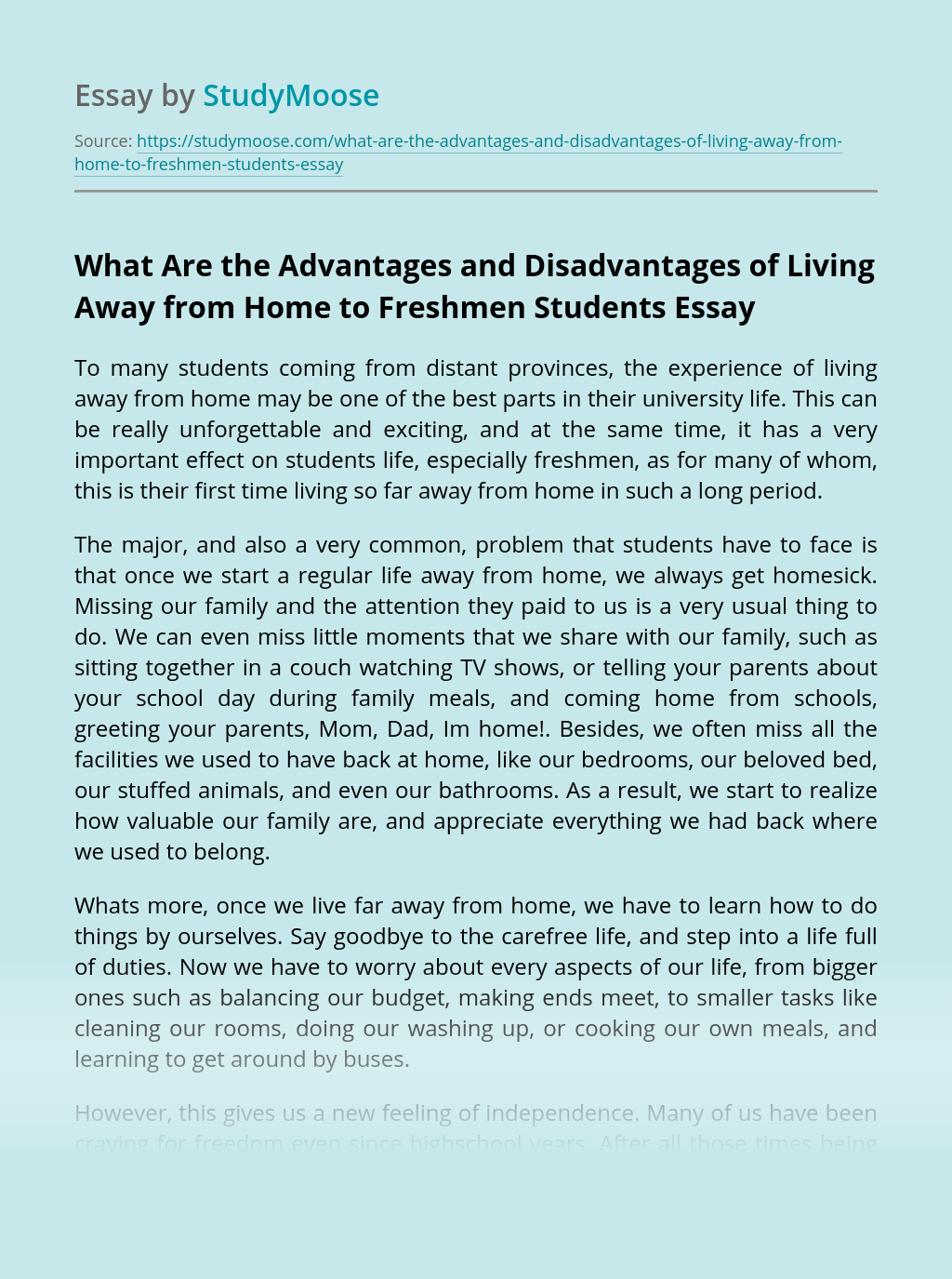 What Are the Advantages and Disadvantages of Living Away from Home to Freshmen Students