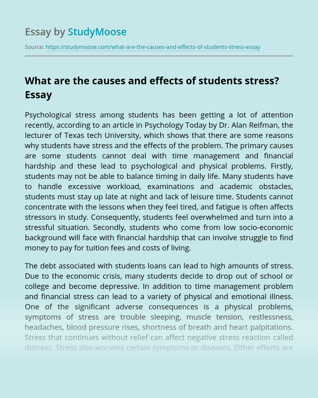?What are the causes and effects of students stress?