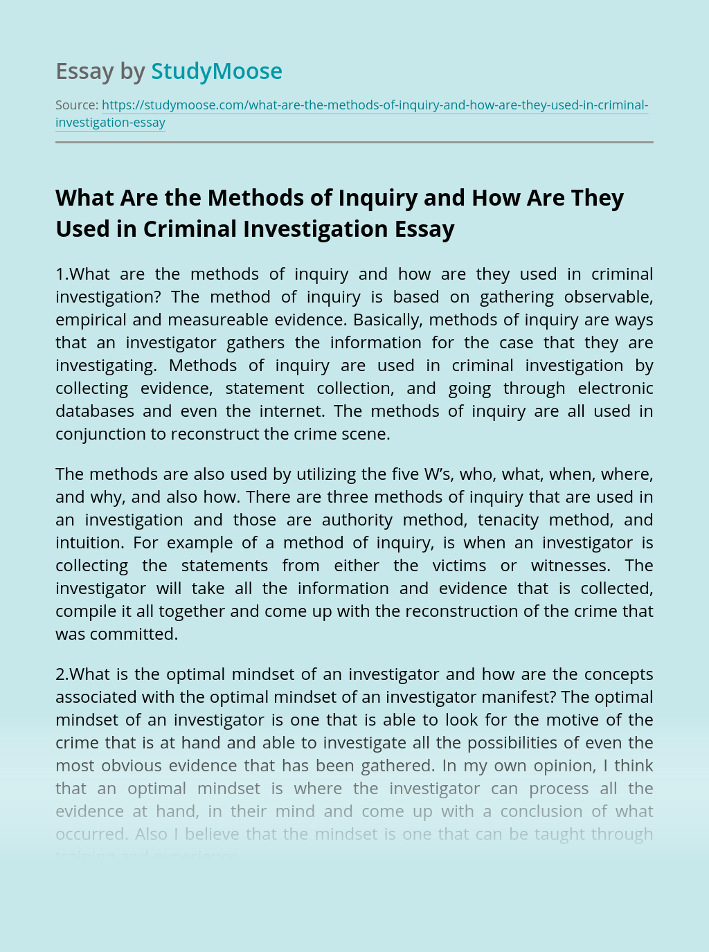 What Are the Methods of Inquiry and How Are They Used in Criminal Investigation