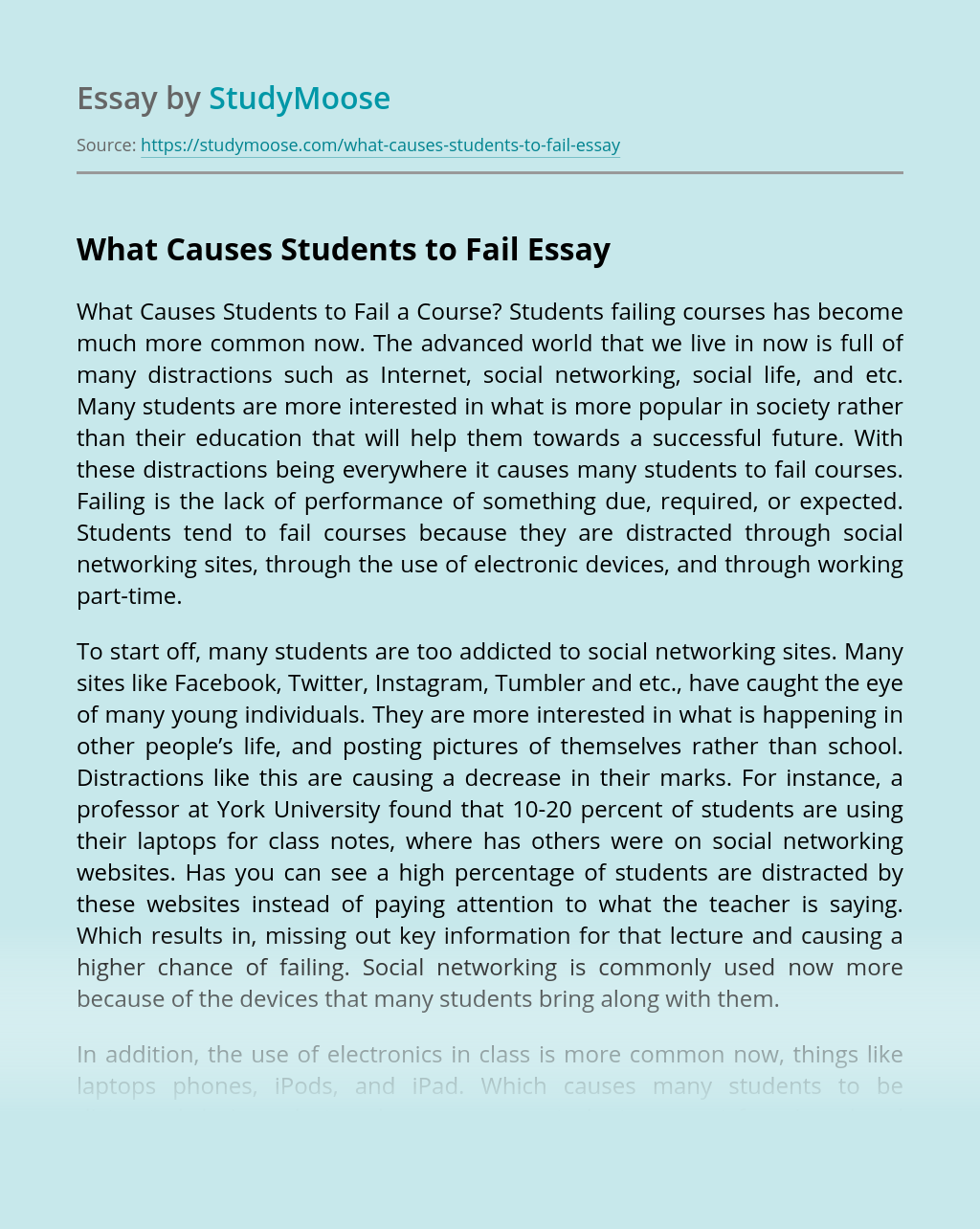What Causes Students to Fail?