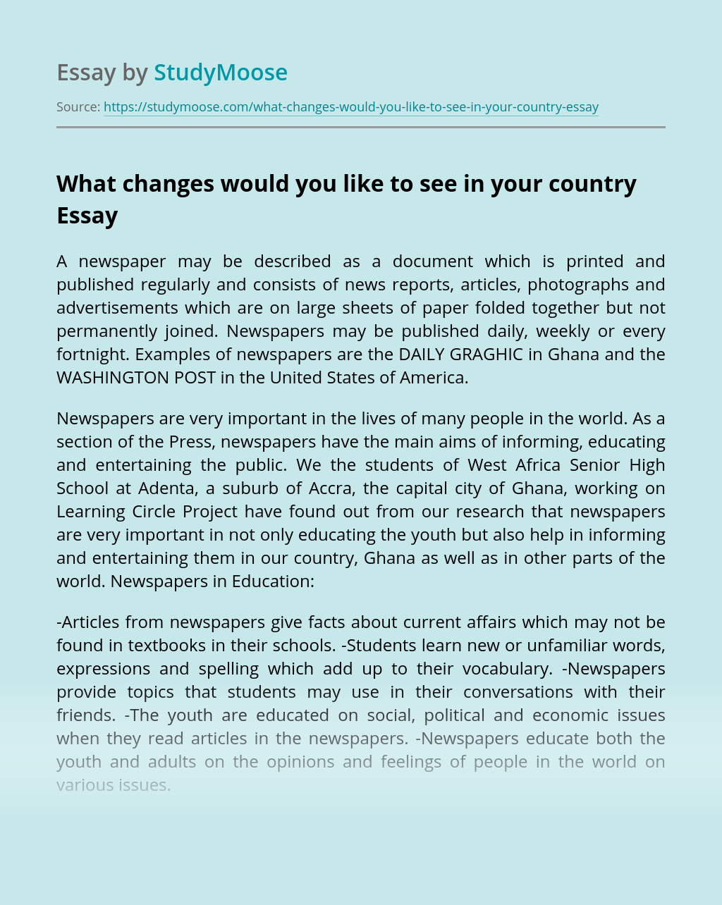 What changes would you like to see in your country