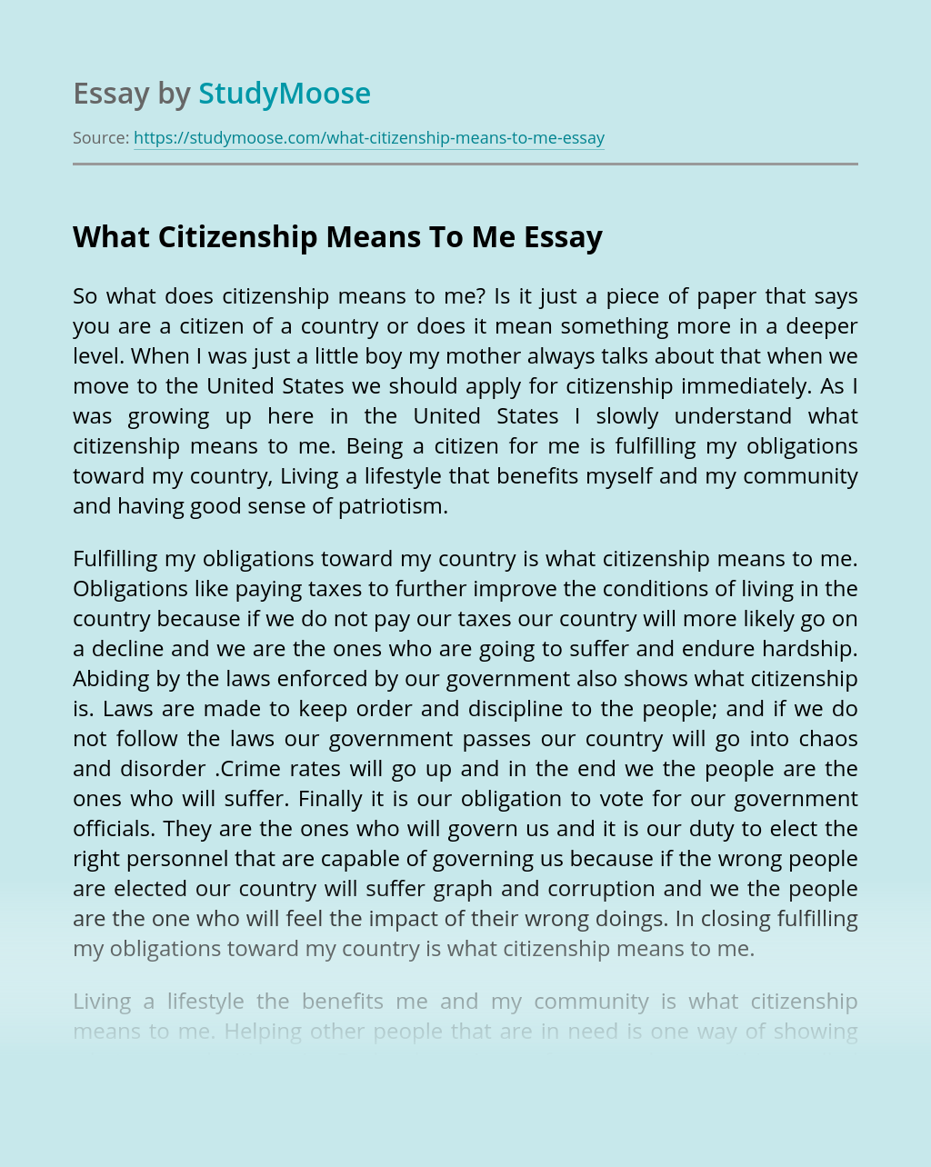 What Citizenship Means To Me