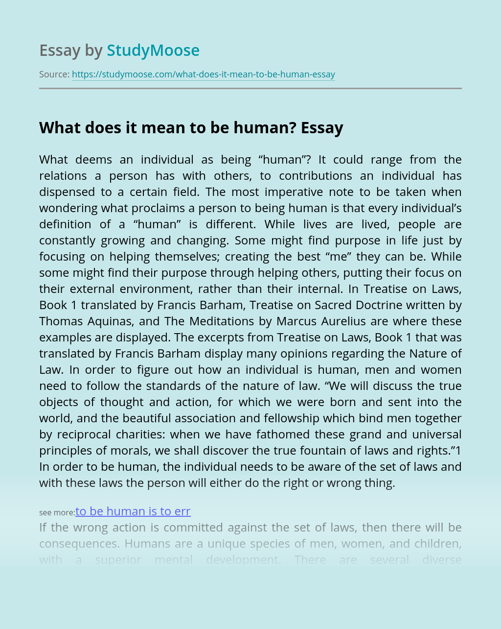 What does it mean to be human?