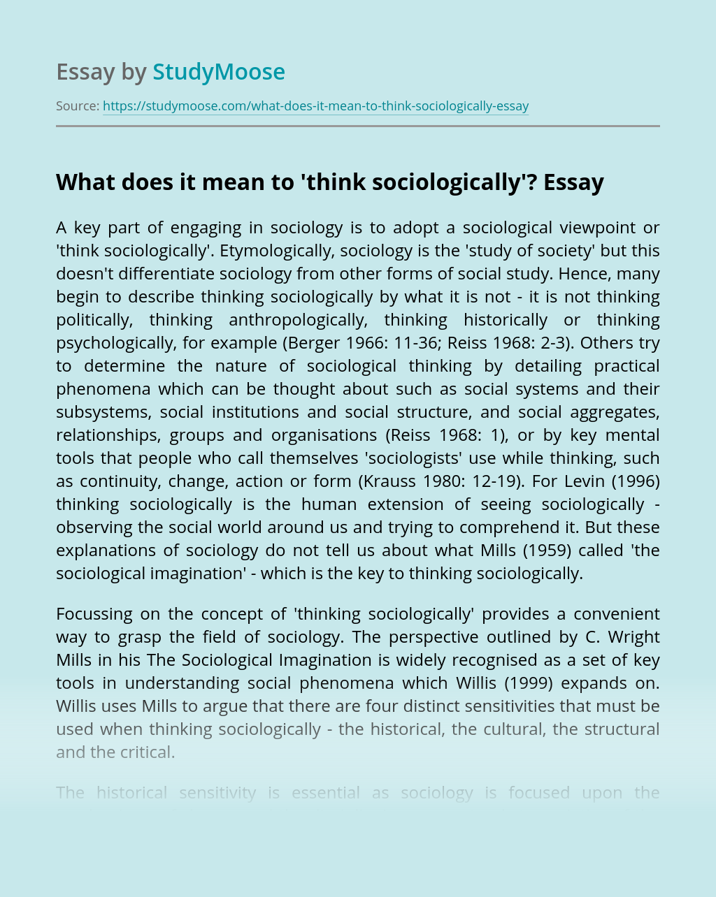 What does it mean to 'think sociologically'?