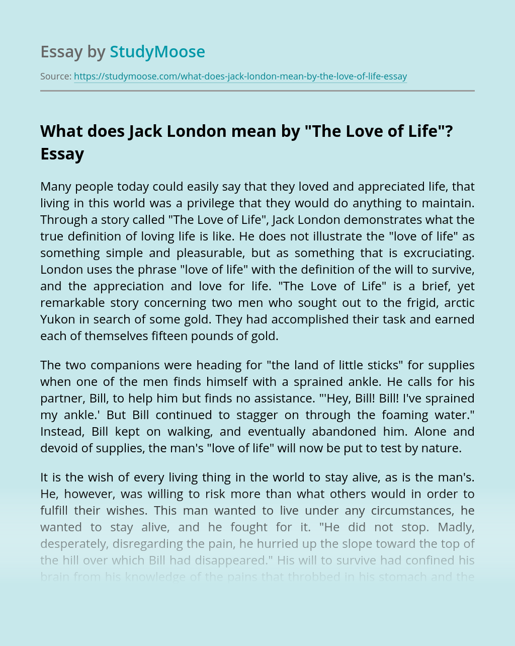 """What does Jack London mean by """"The Love of Life""""?"""