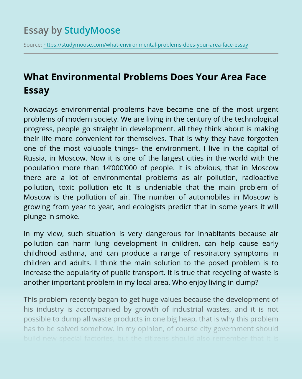 What Environmental Problems Does Your Area Face