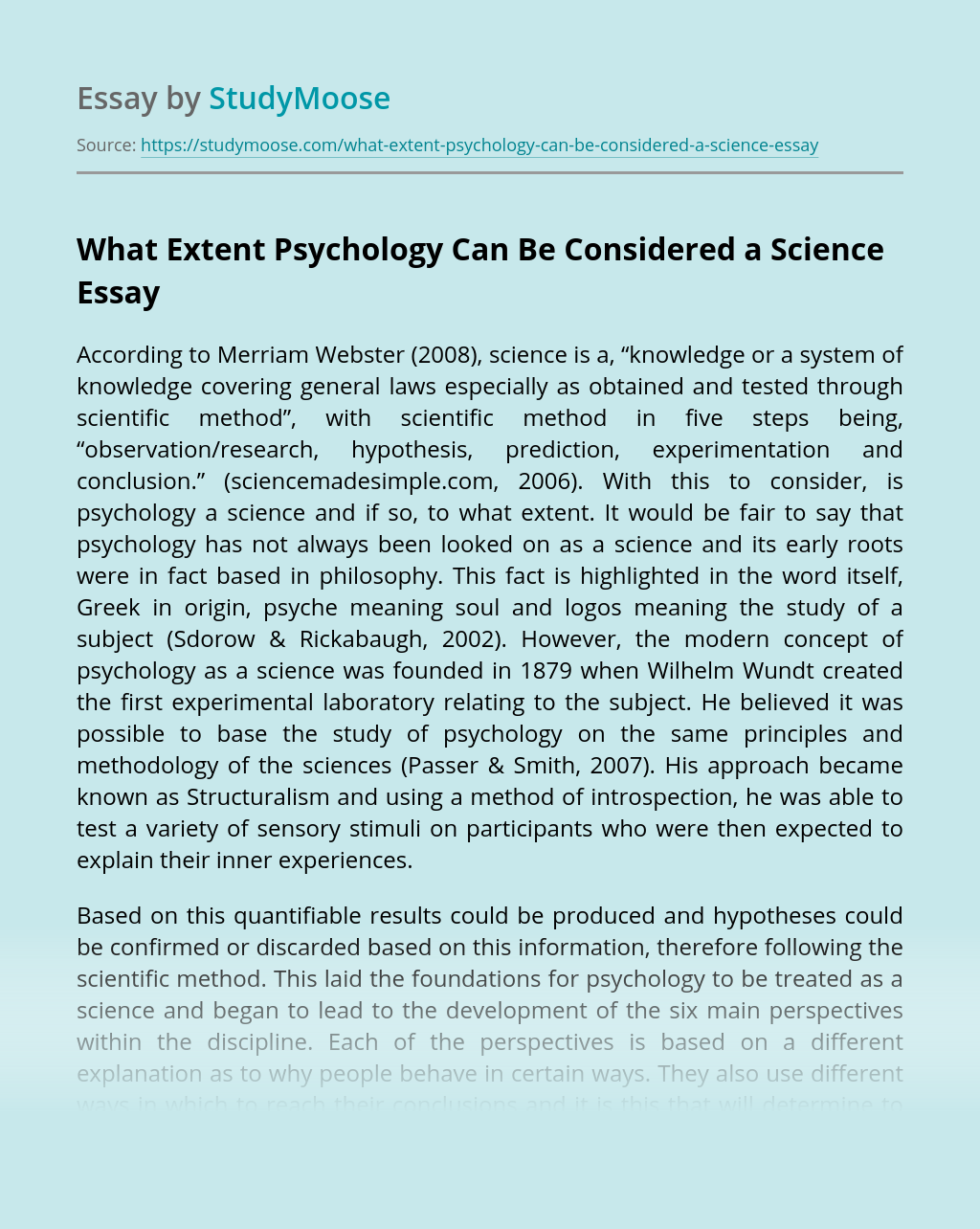 What Extent Psychology Can Be Considered a Science?