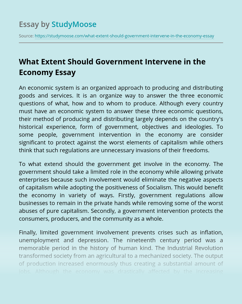 What Extent Should Government Intervene in the Economy