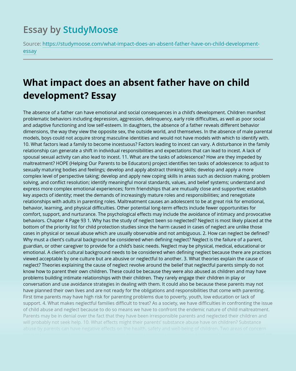 What impact does an absent father have on child development?