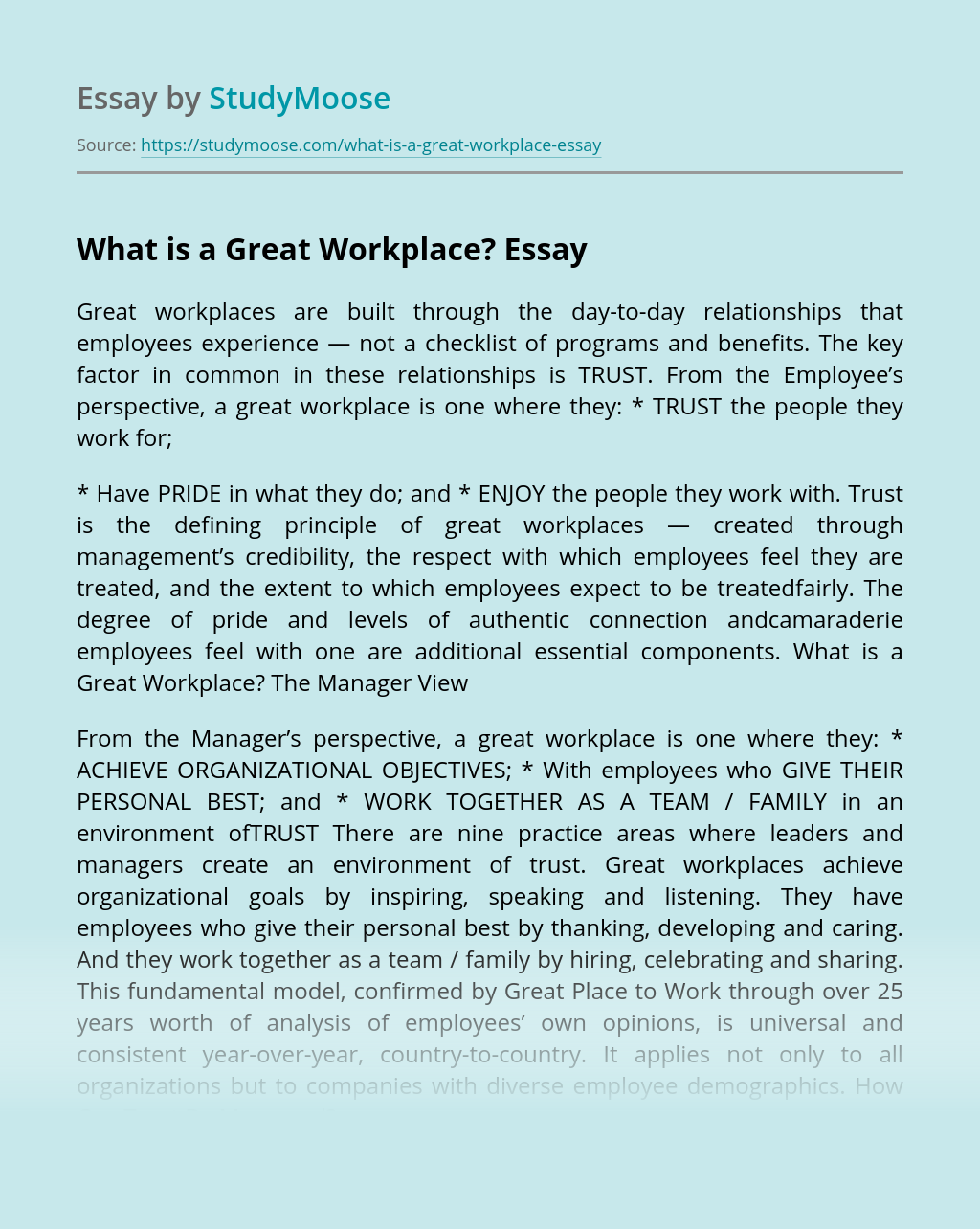 What is a Great Workplace?