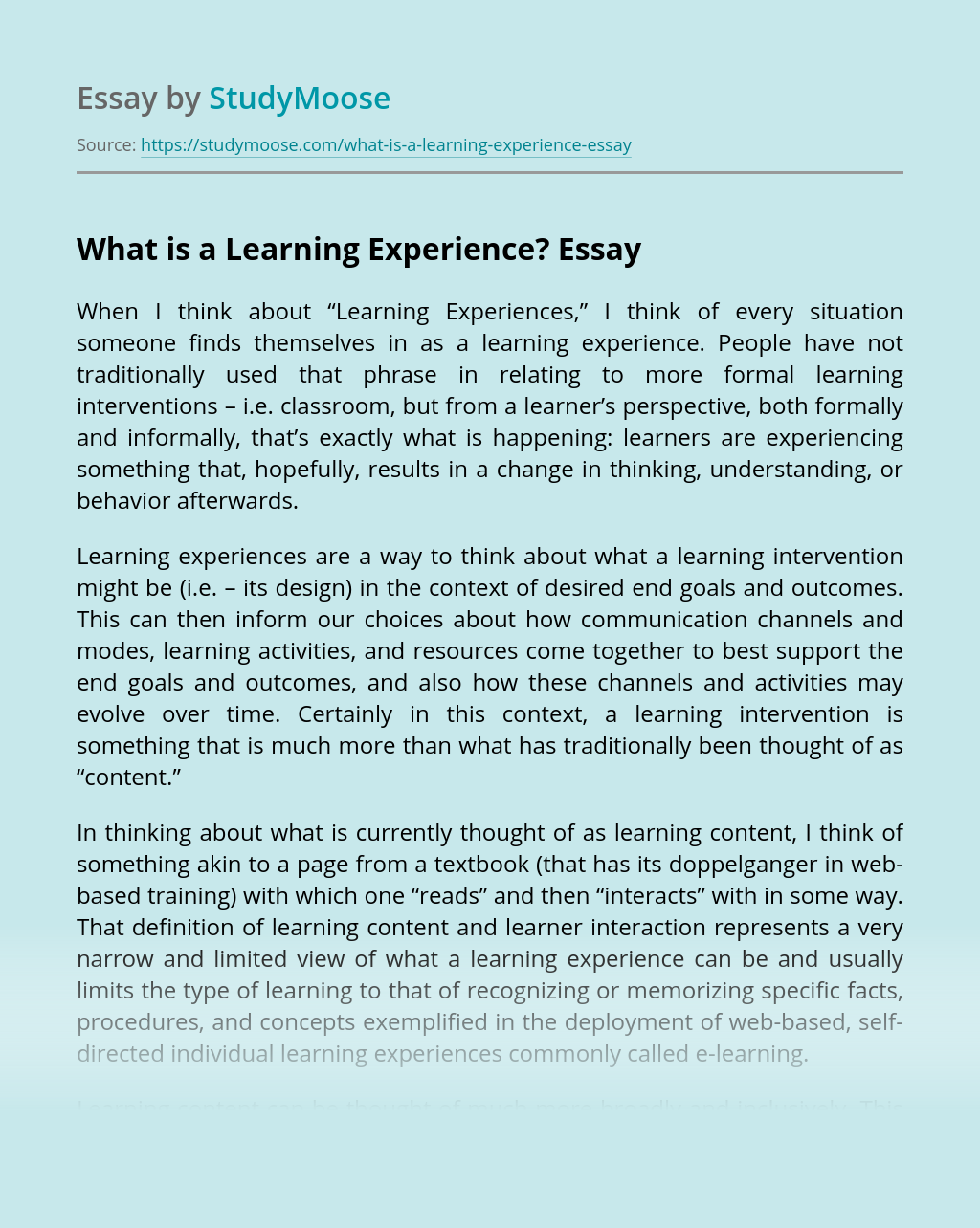 What is a Learning Experience?