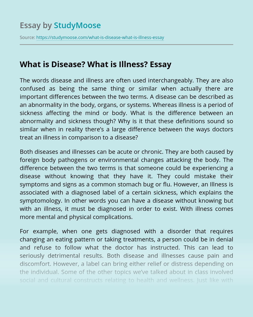 What is Disease? What is Illness?