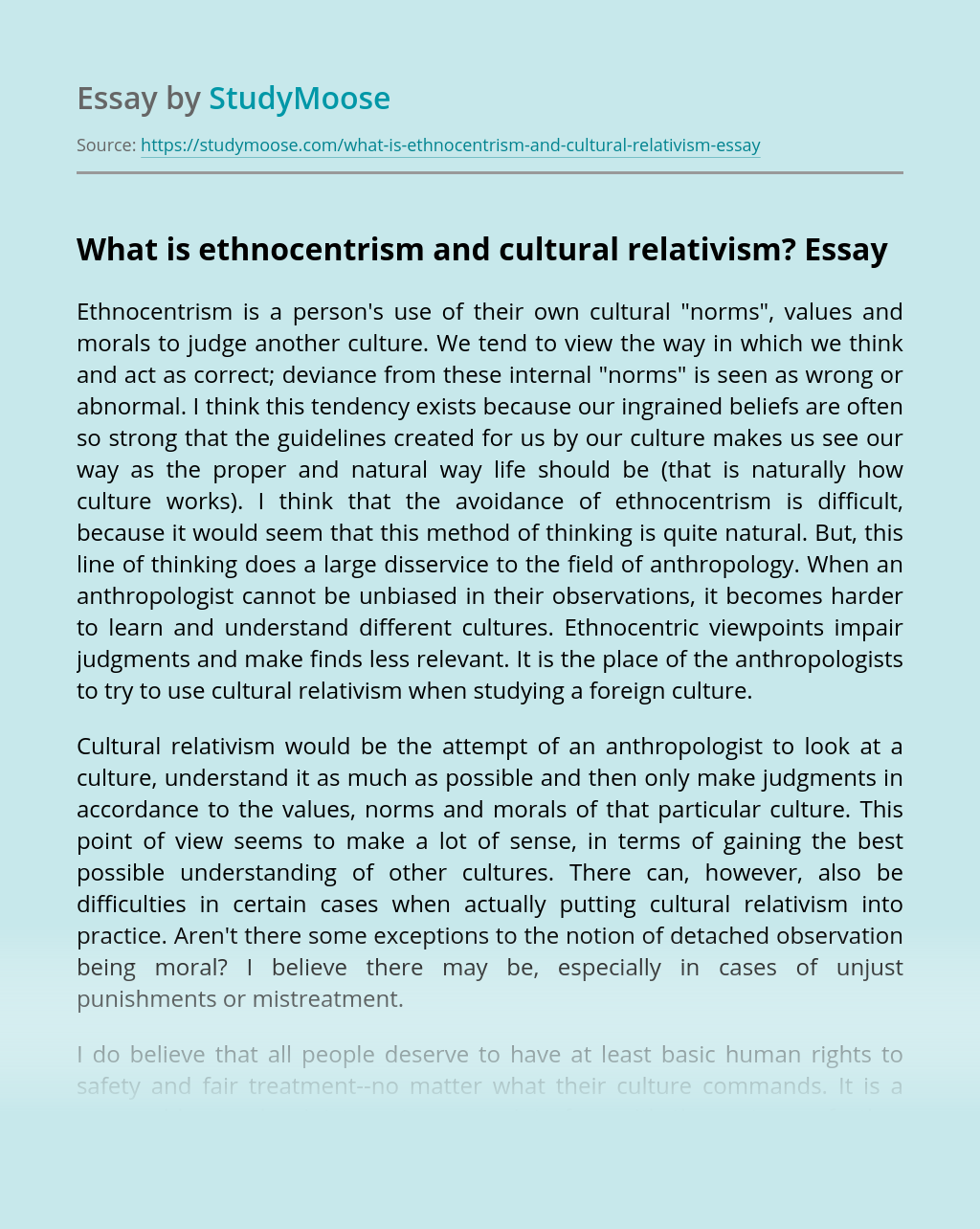 What is ethnocentrism and cultural relativism?