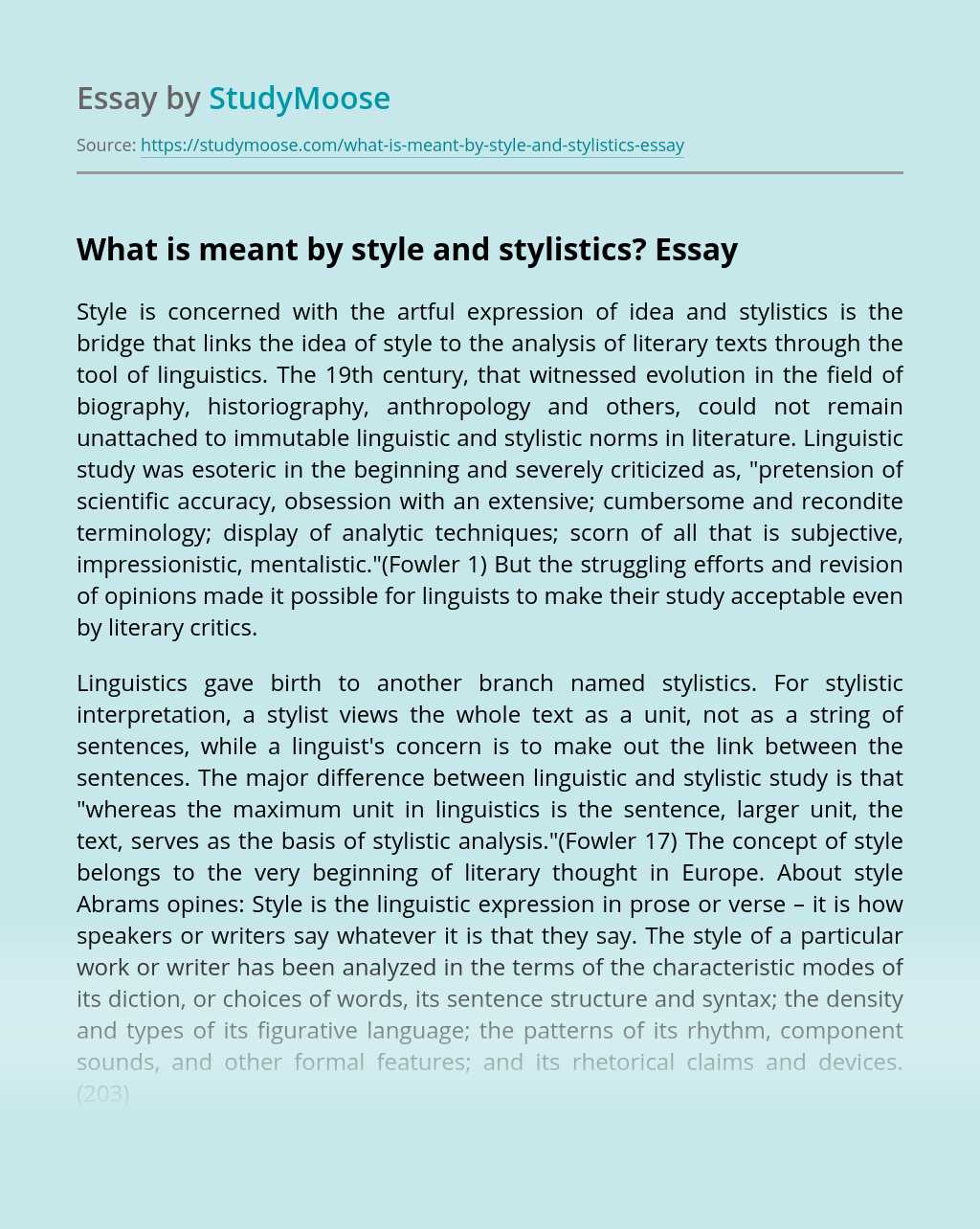 What is meant by style and stylistics?