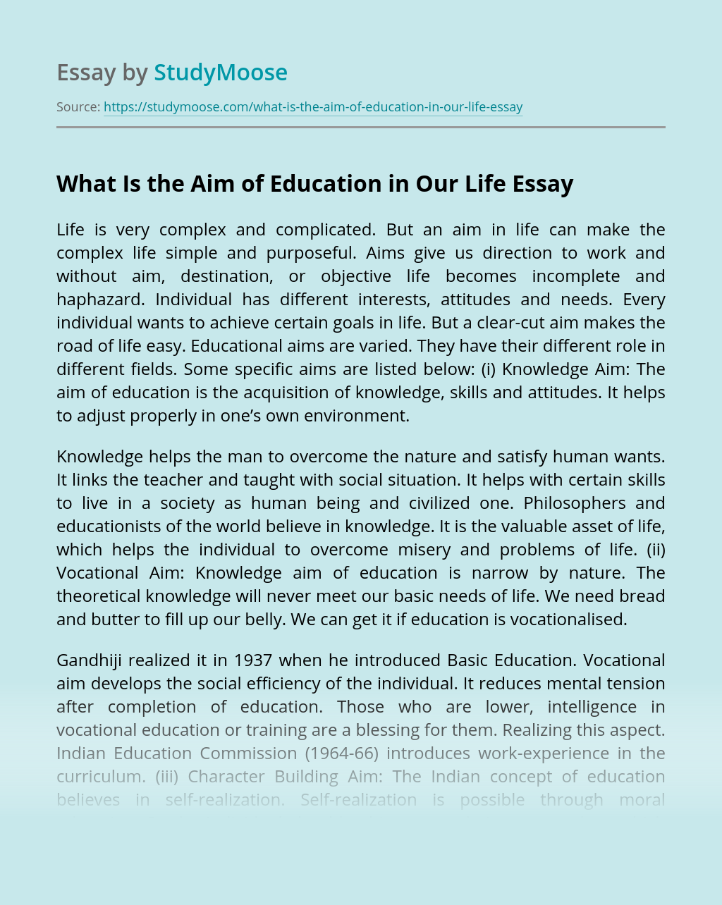 What Is the Aim of Education in Our Life