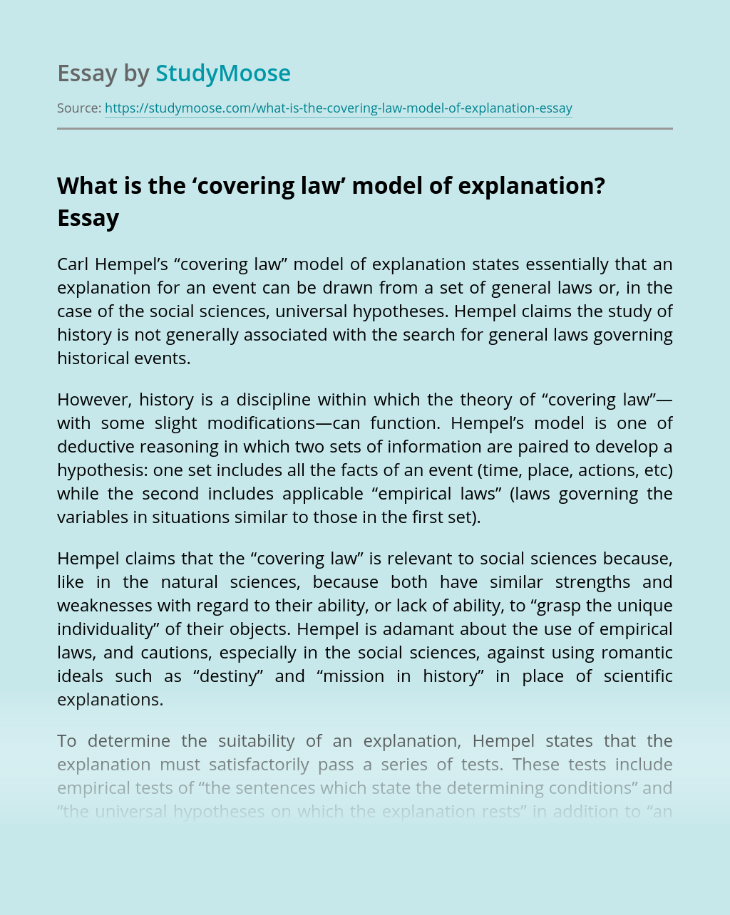What is the 'covering law' model of explanation?