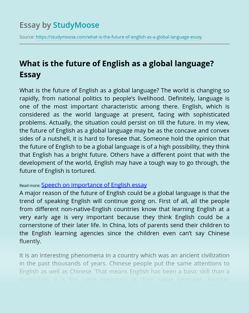 What is the future of English as a global language?