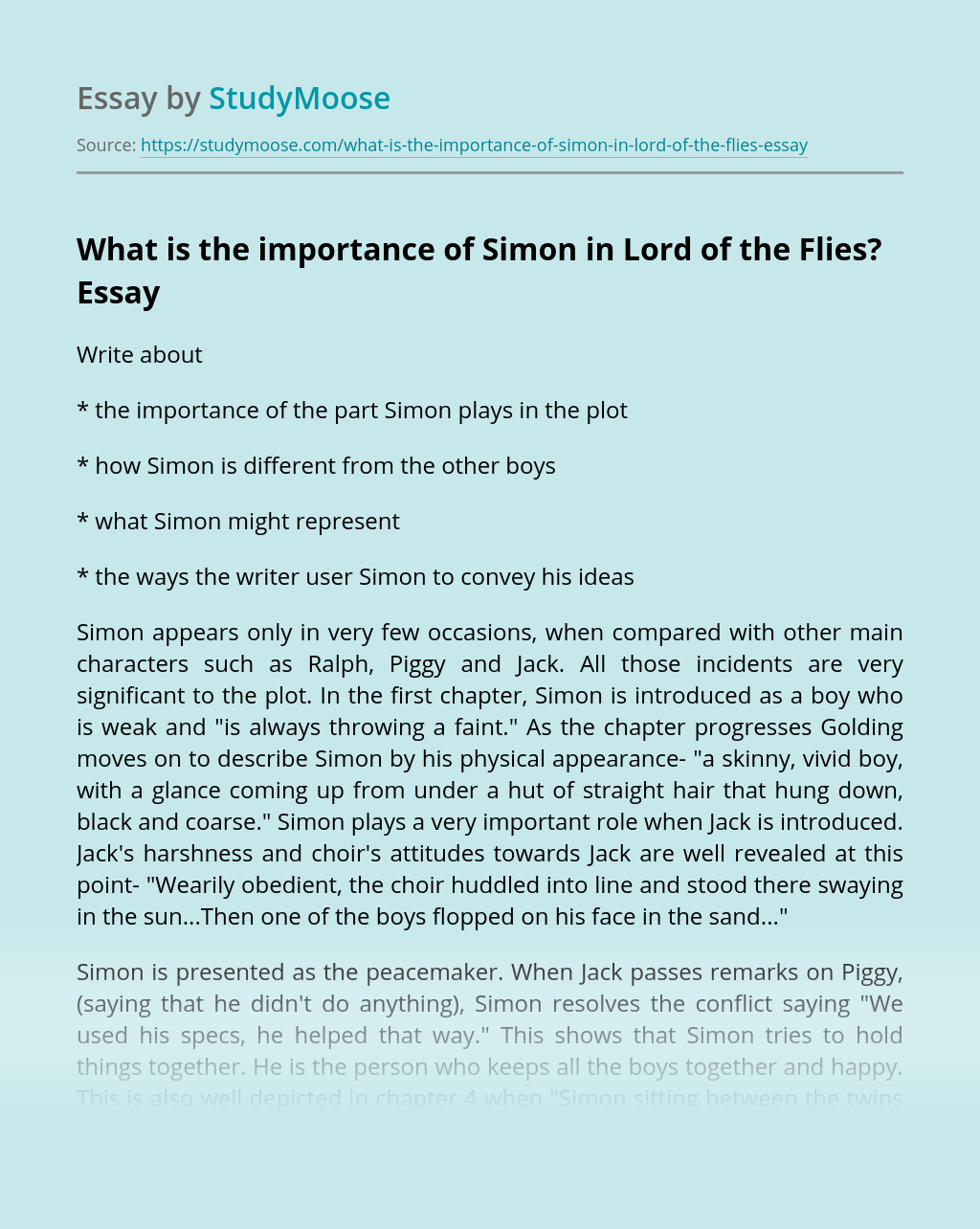 What is the importance of Simon in Lord of the Flies?
