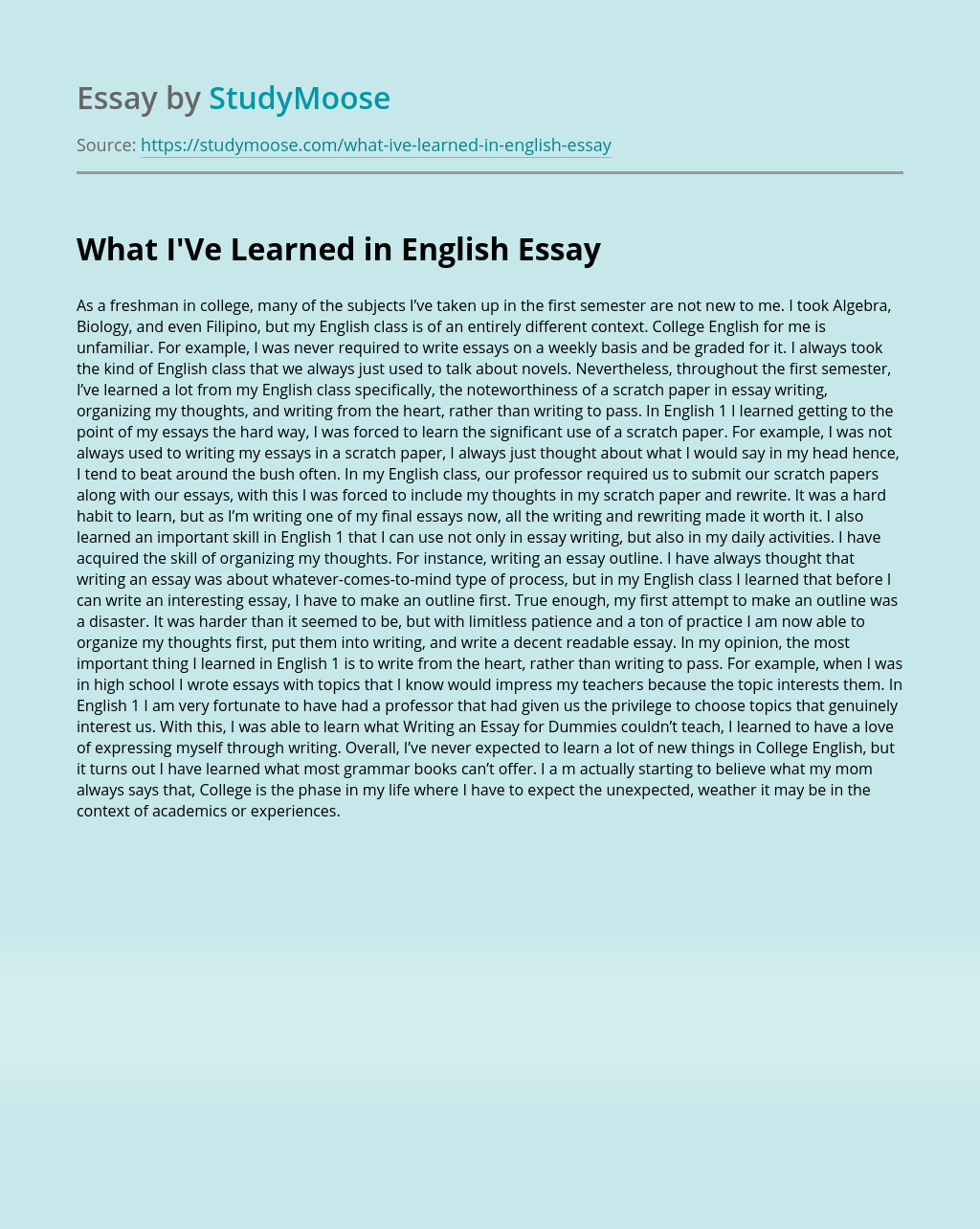 What I'Ve Learned in English?