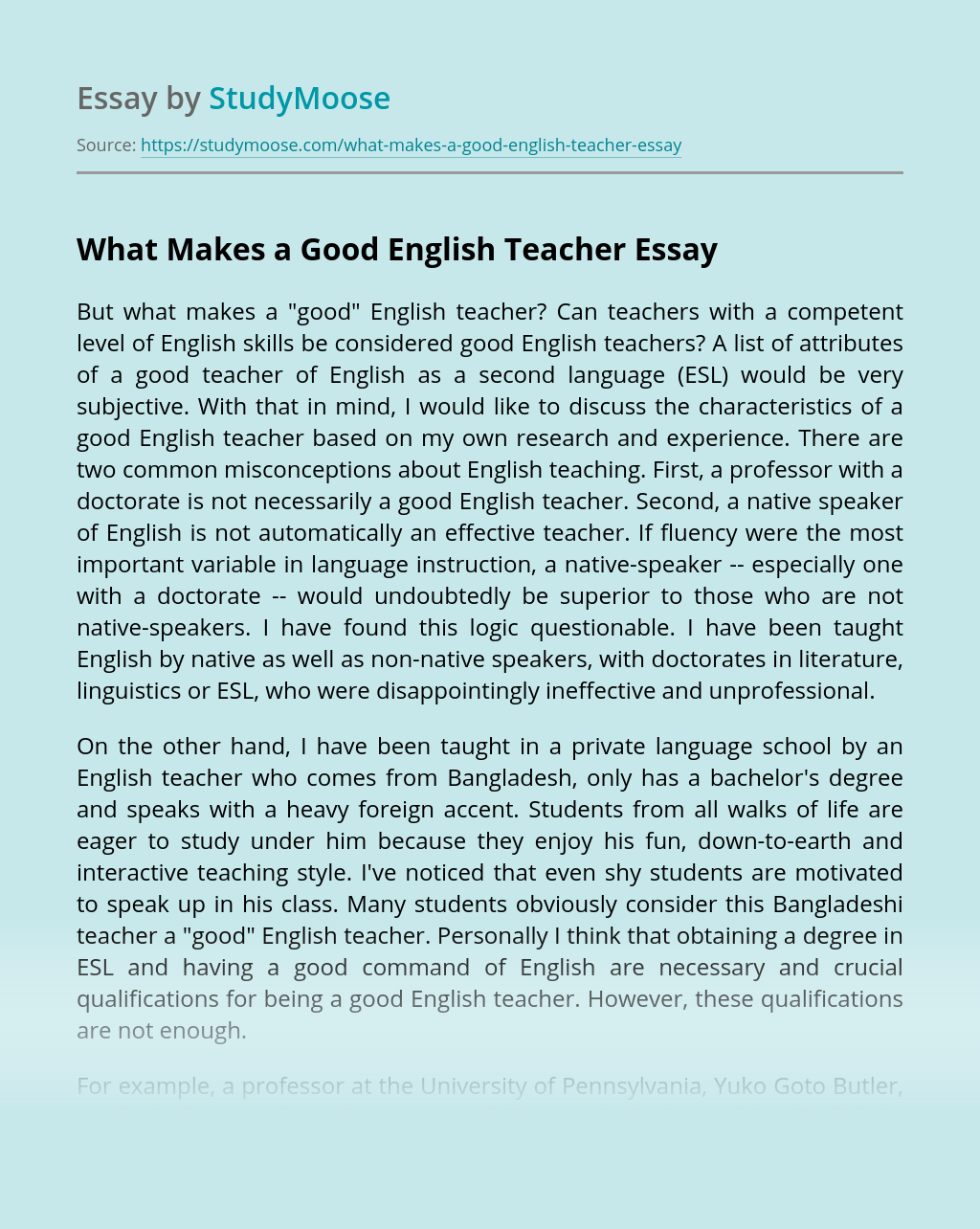 Good English Essay