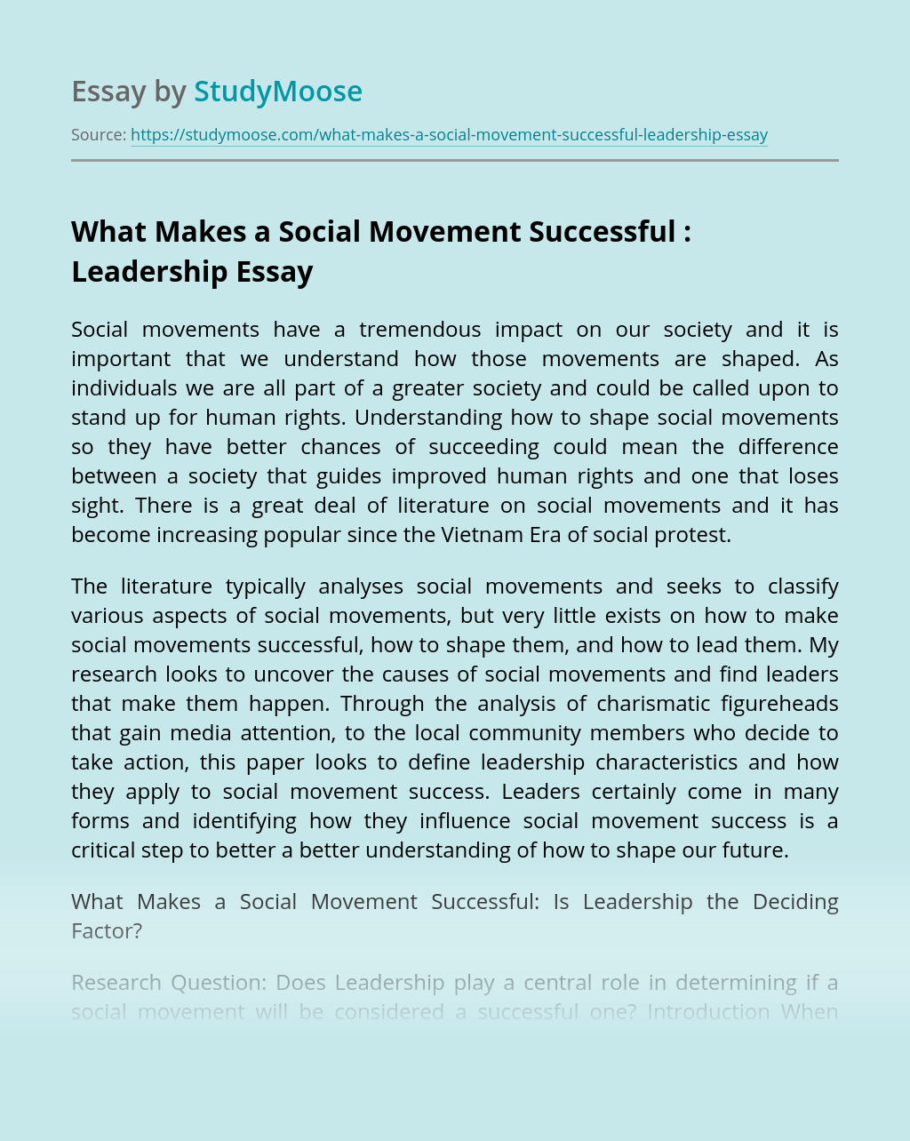 What Makes a Social Movement Successful : Leadership