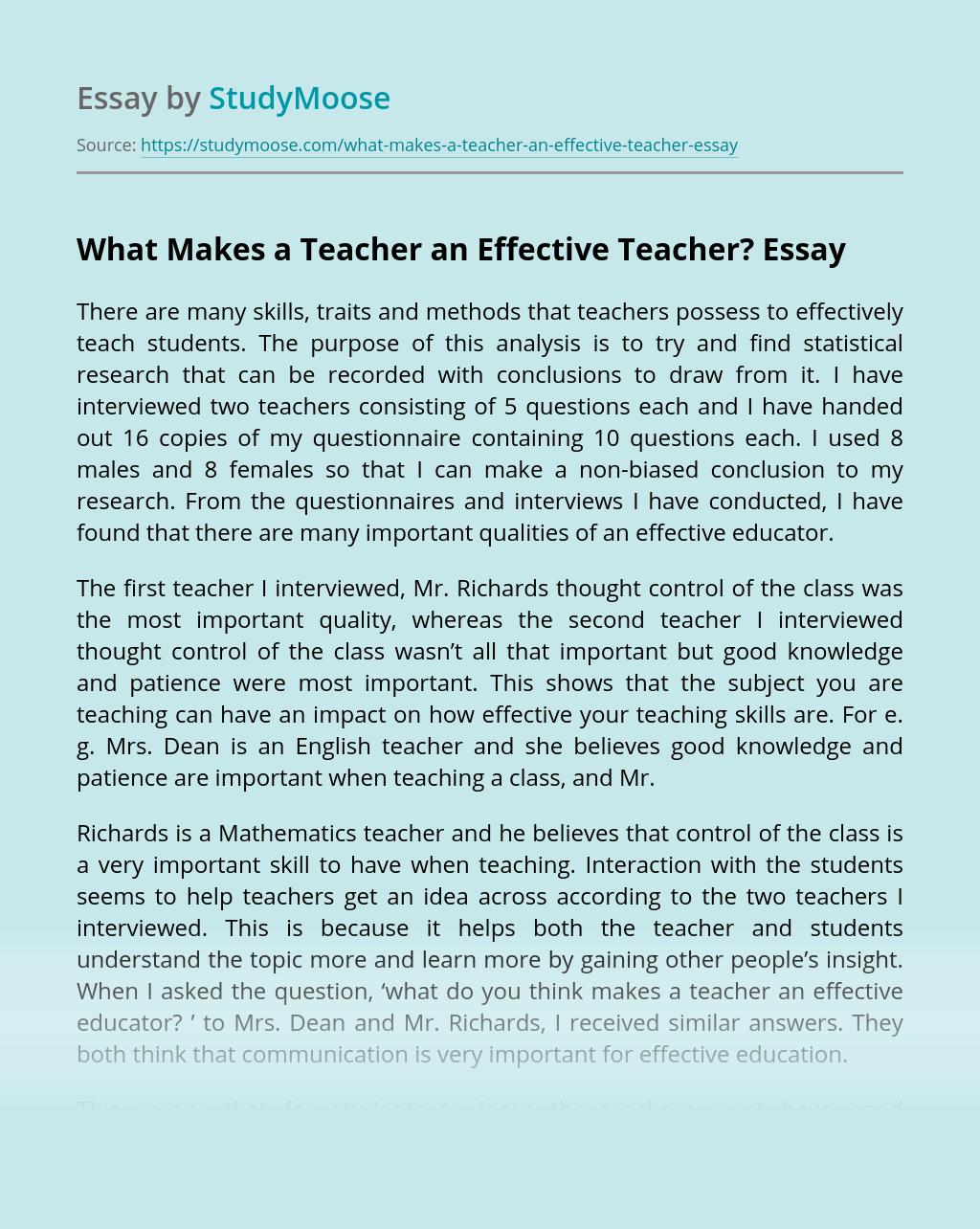 An Effective Teacher Essay