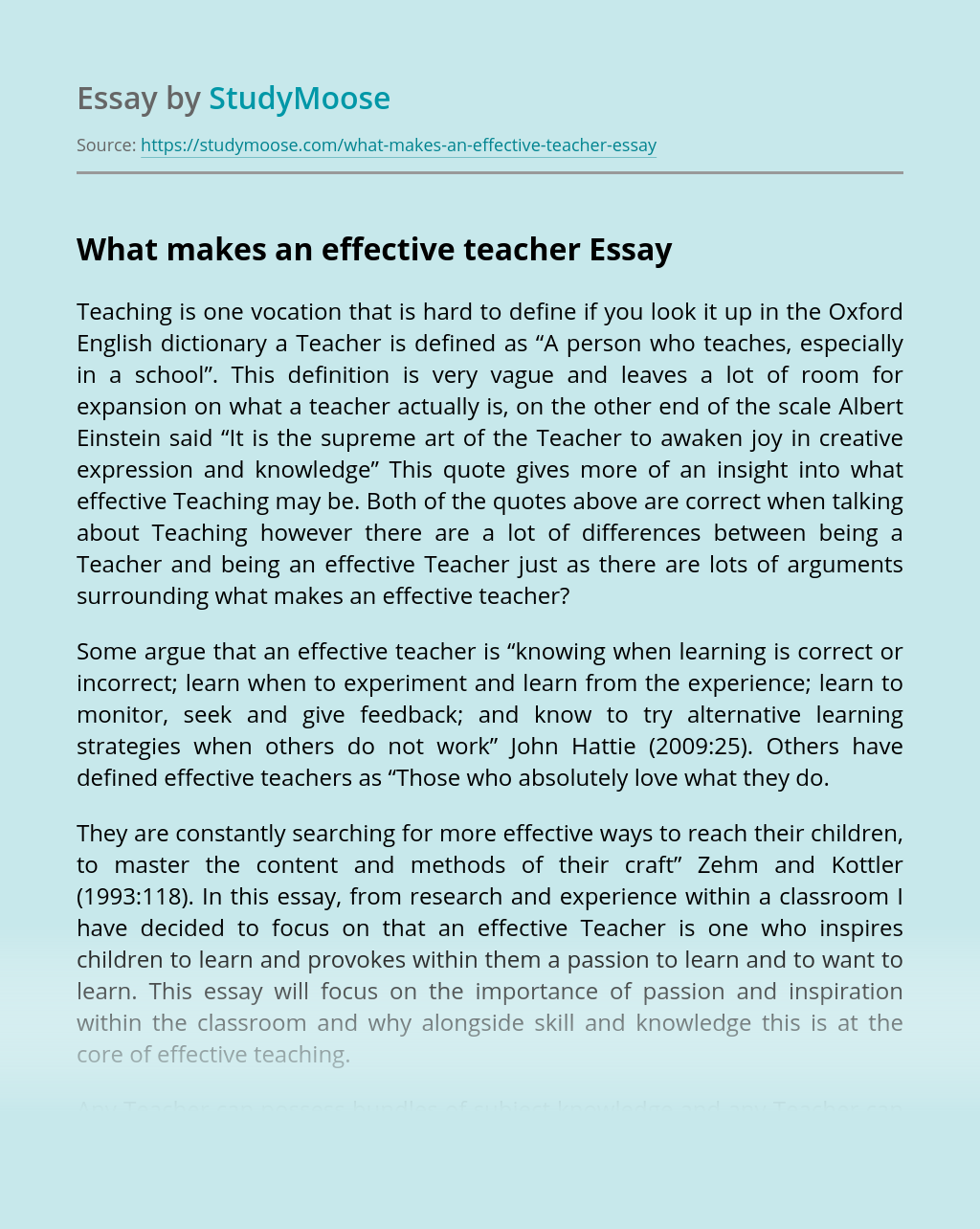 An Effective Teacher Essay