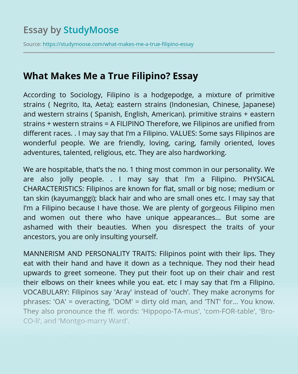 What Makes Me a True Filipino?