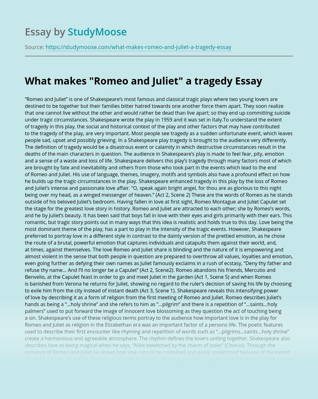 "What makes ""Romeo and Juliet"" a tragedy"