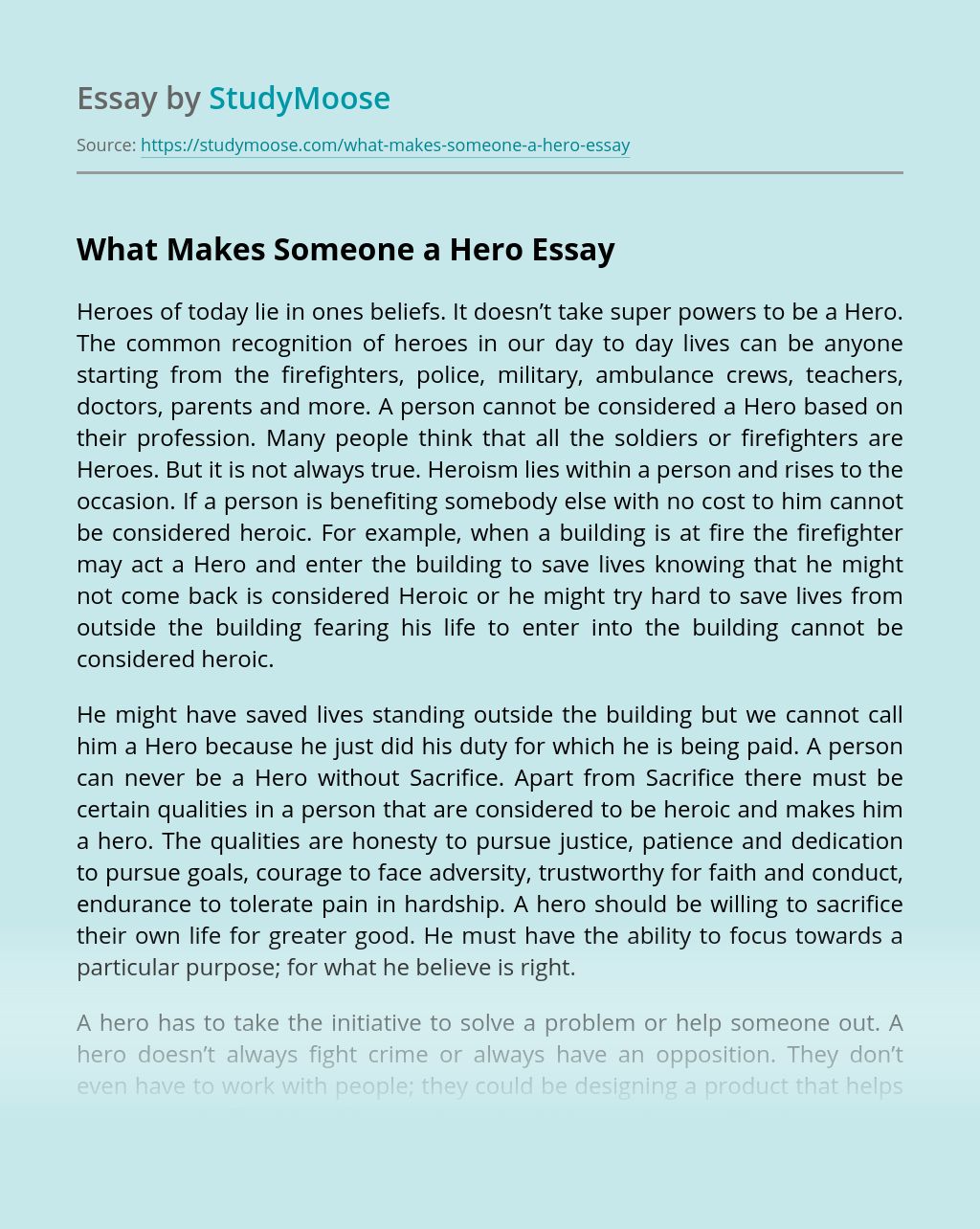 What Makes Someone a Hero