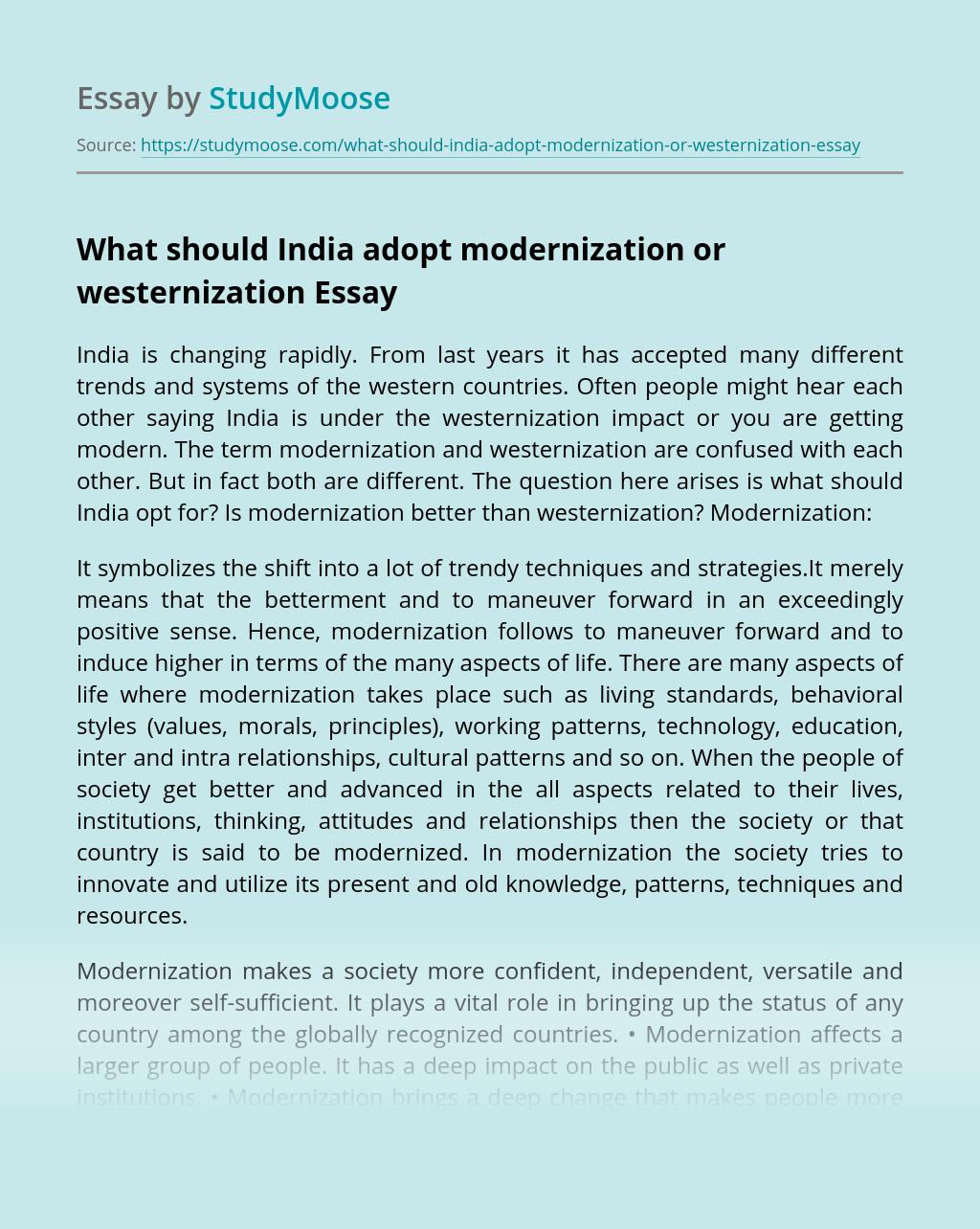 What should India adopt modernization or westernization
