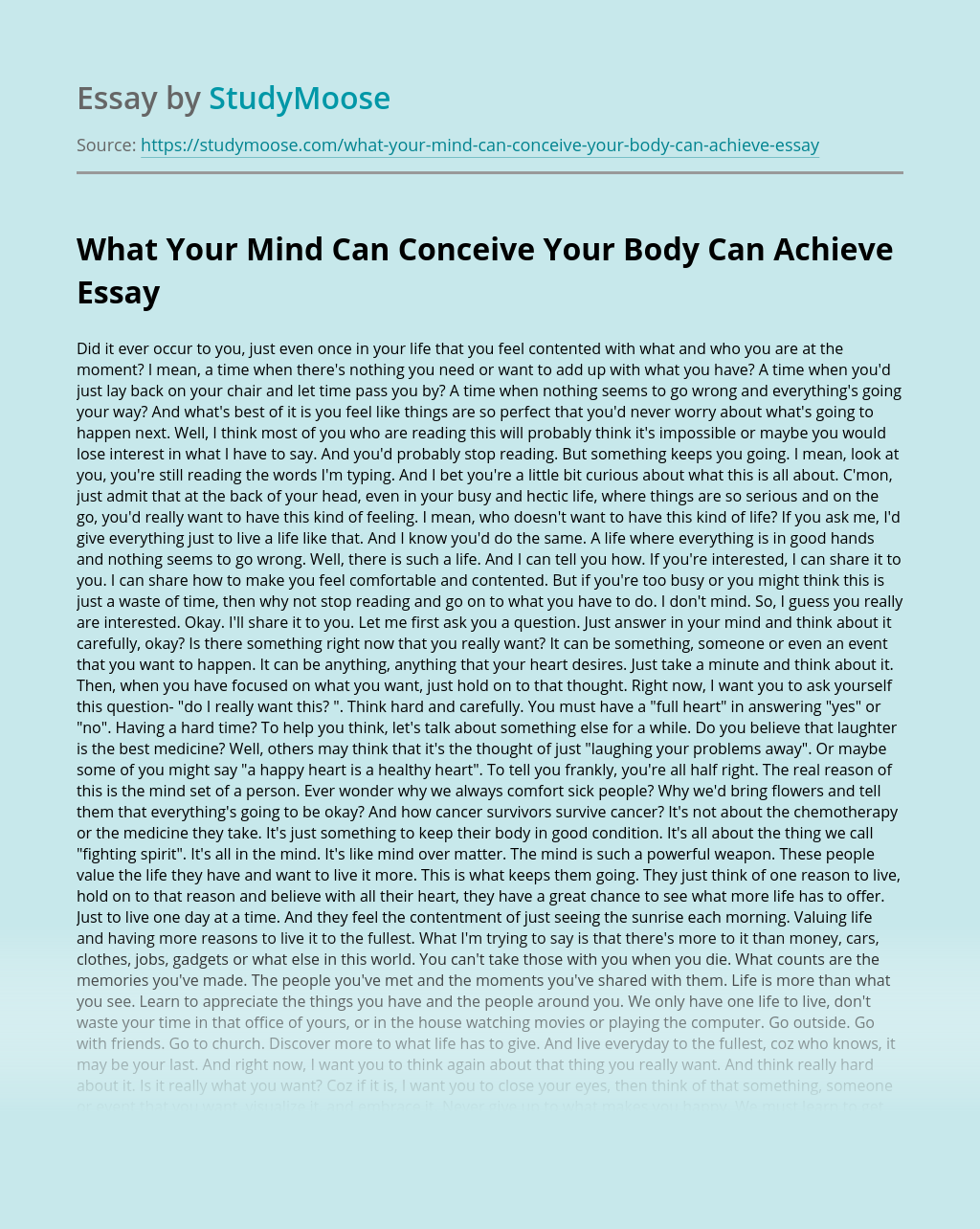 What Your Mind Can Conceive Your Body Can Achieve