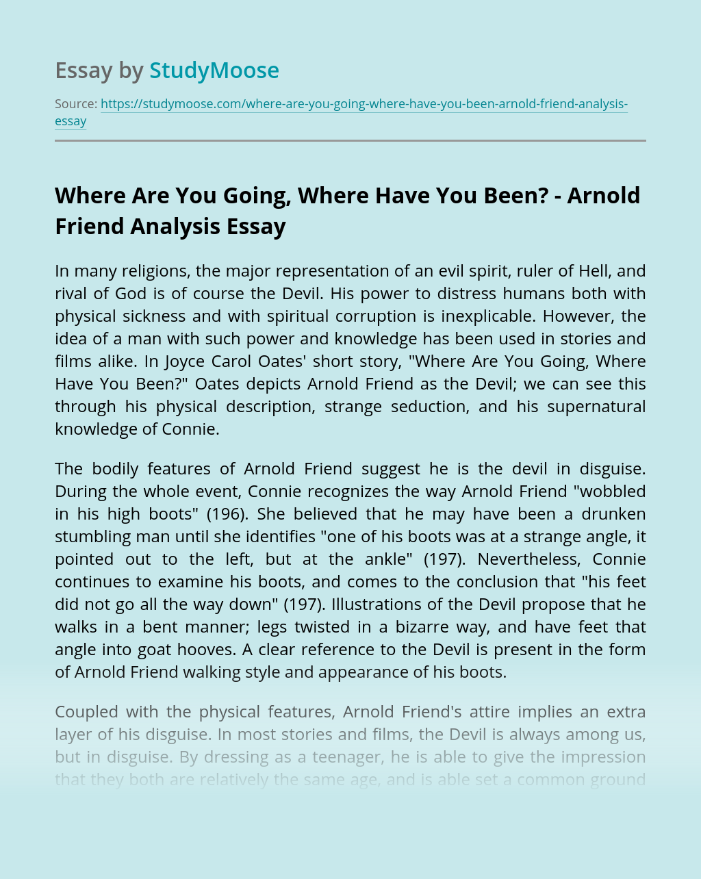 Where Are You Going, Where Have You Been? - Arnold Friend Analysis
