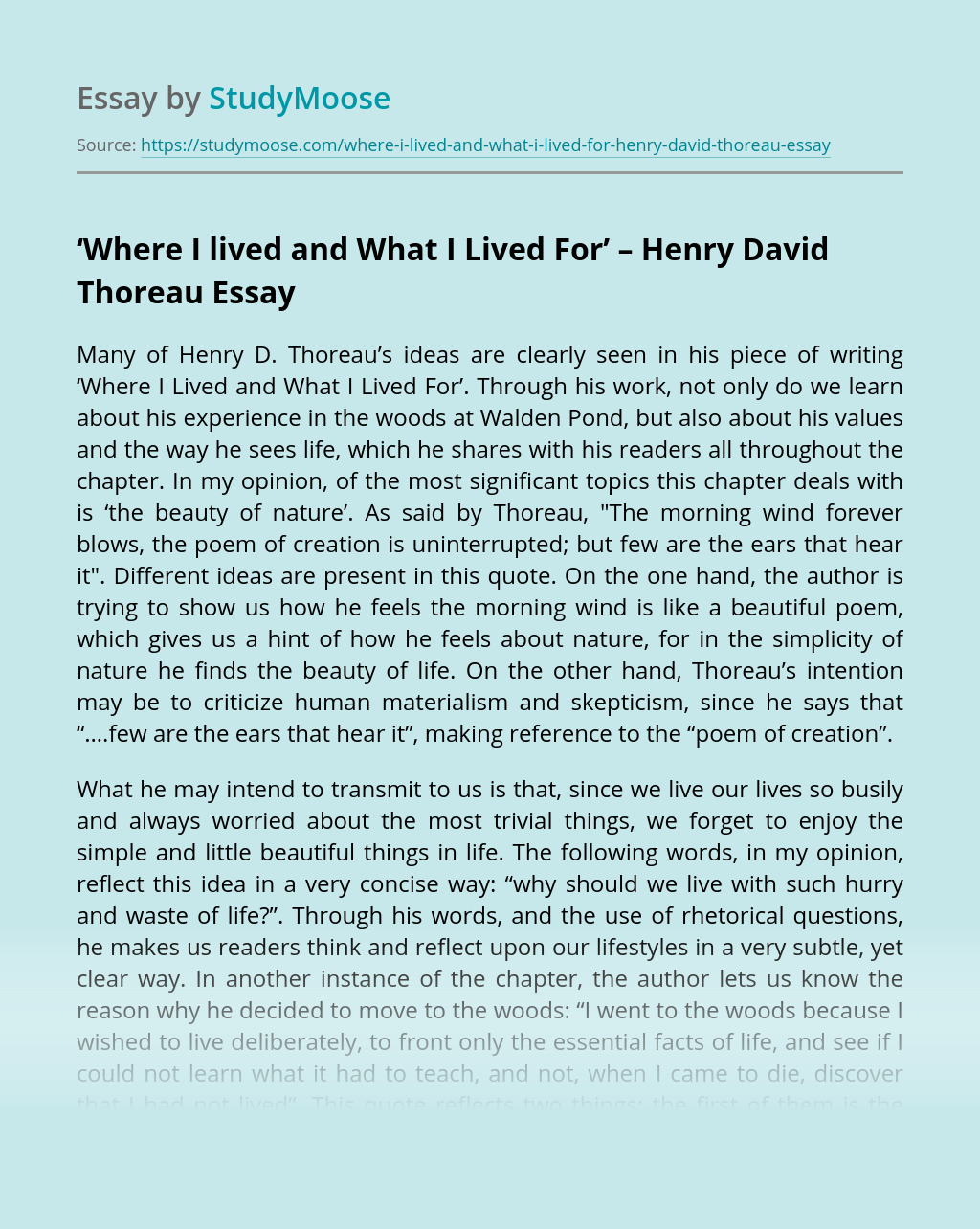 'Where I lived and What I Lived For' – Henry David Thoreau