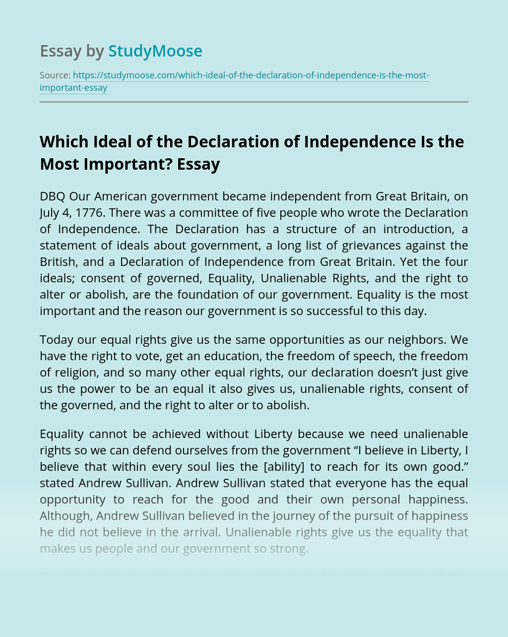 Which Ideal of the Declaration of Independence Is the Most Important?