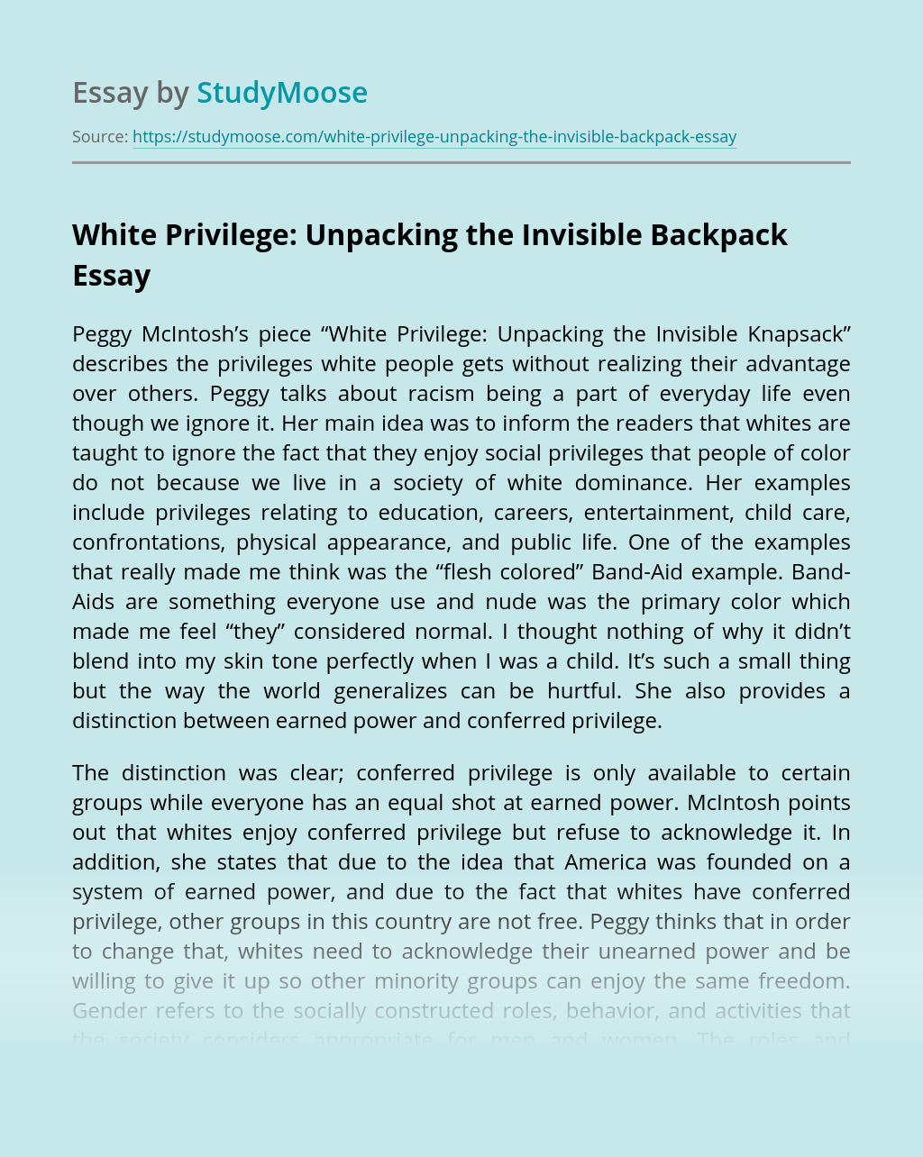 White Privilege: Unpacking the Invisible Backpack