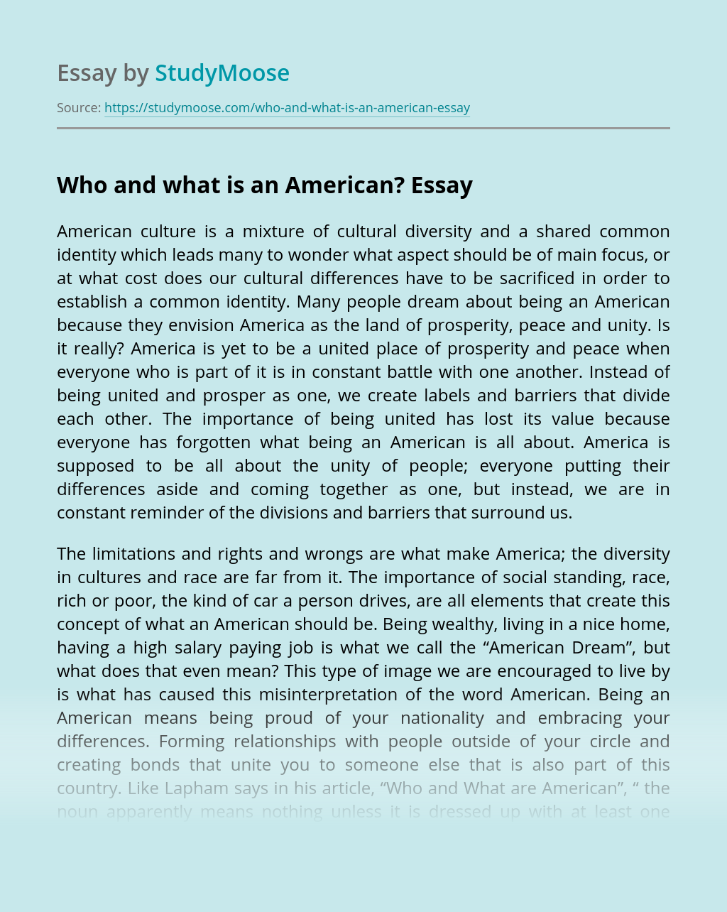 Who and what is an American?