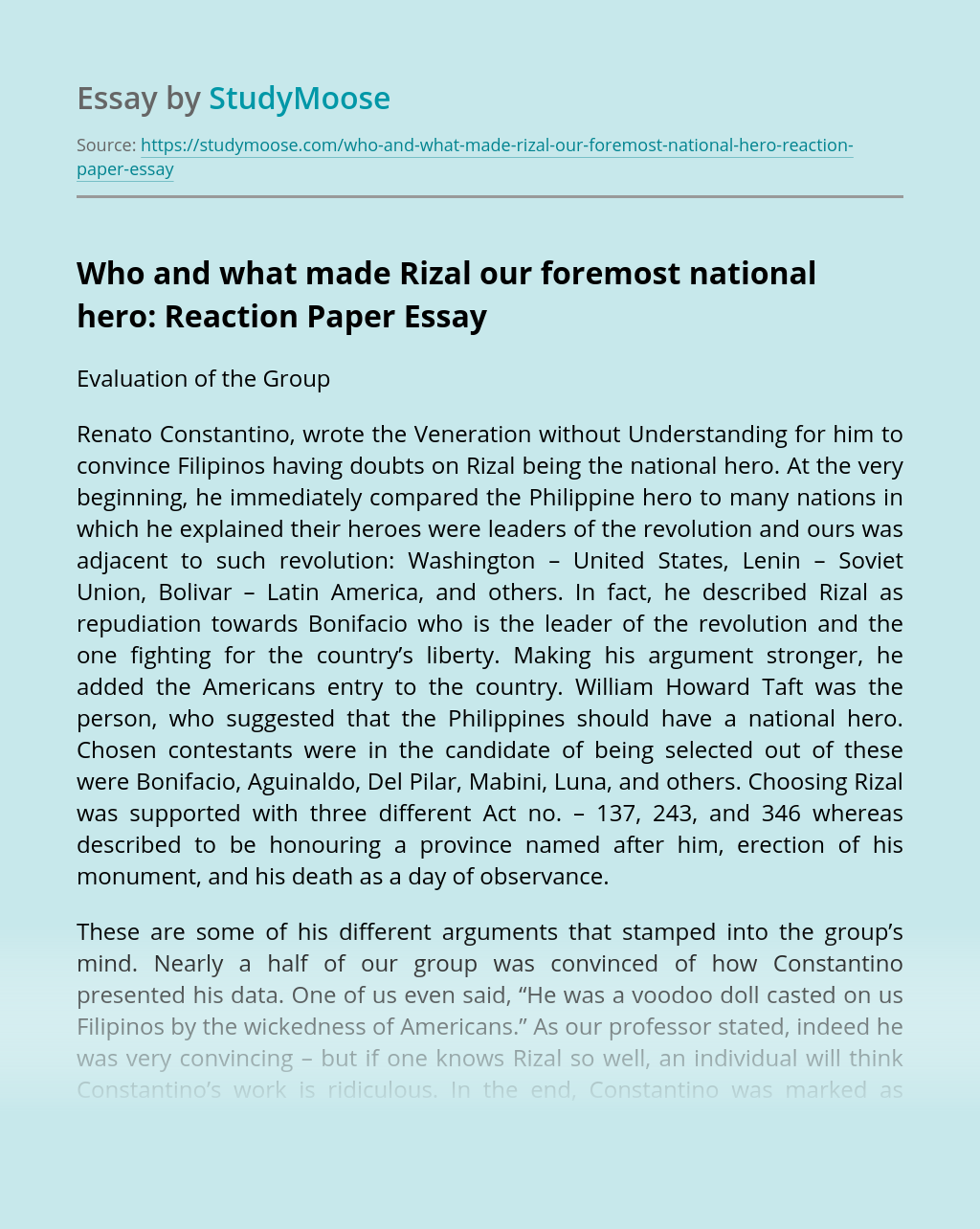 Who and what made Rizal our foremost national hero: Reaction Paper