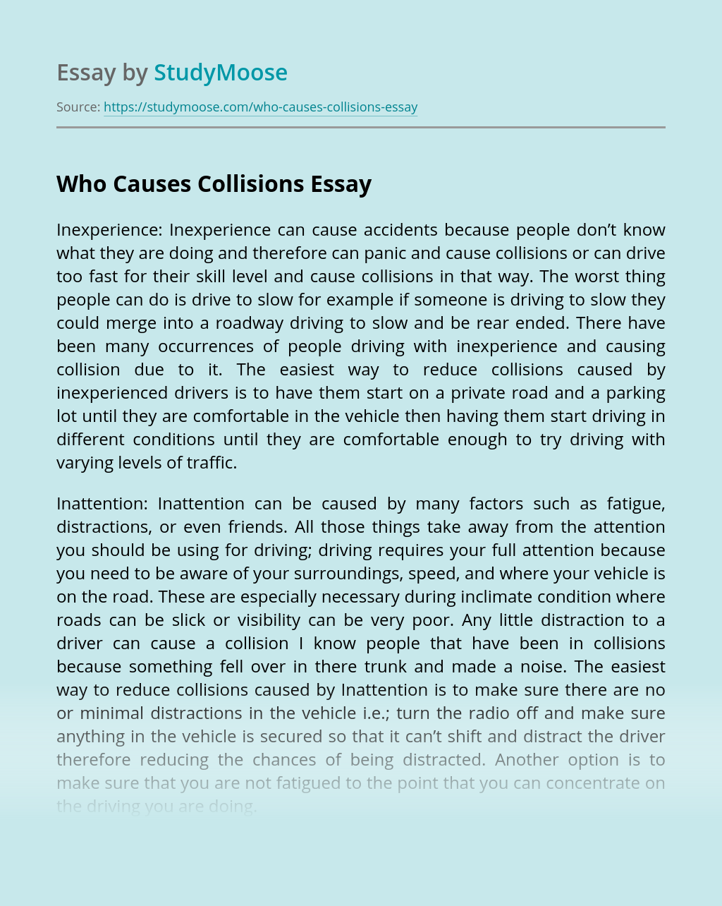 Who Causes Collisions?