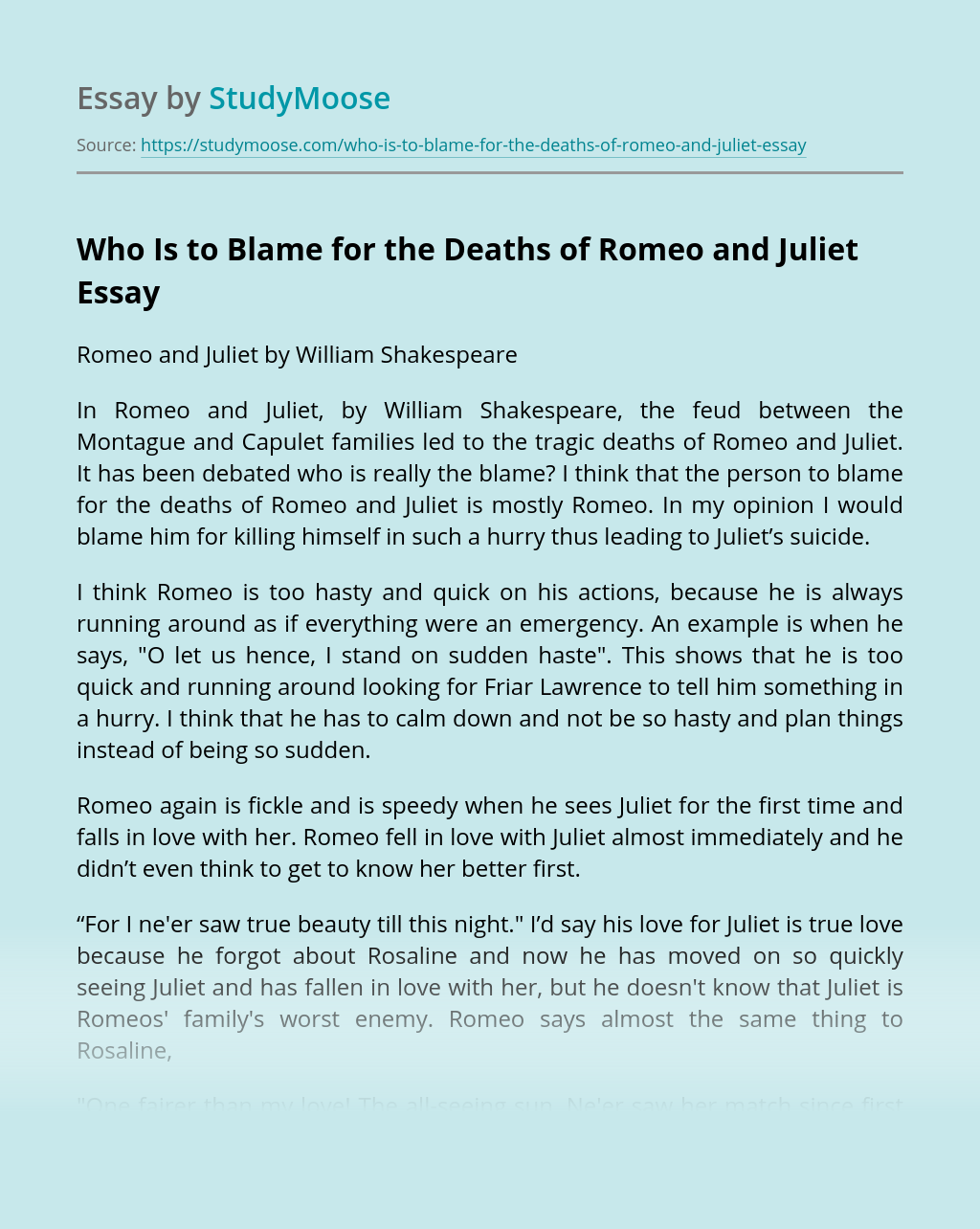Who Is to Blame for the Deaths of Romeo and Juliet