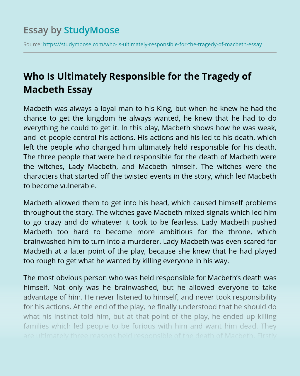 Who Is Ultimately Responsible for the Tragedy of Macbeth