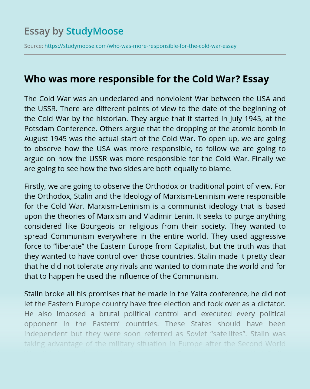 Who was more responsible for the Cold War?